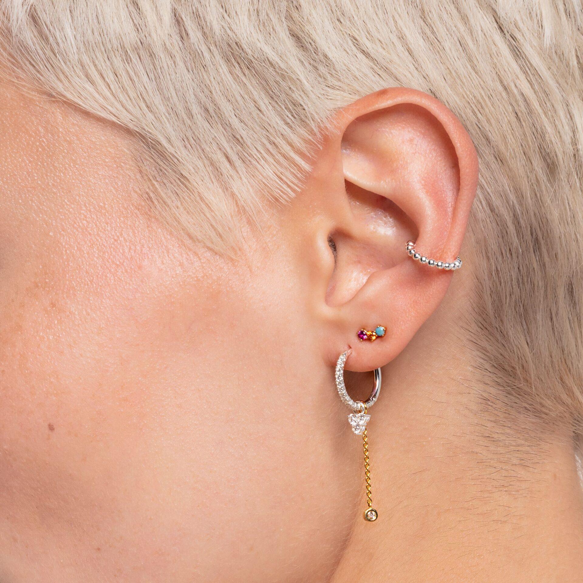 Clou d'oreille unique Pierres colorées or, Thomas Sabo