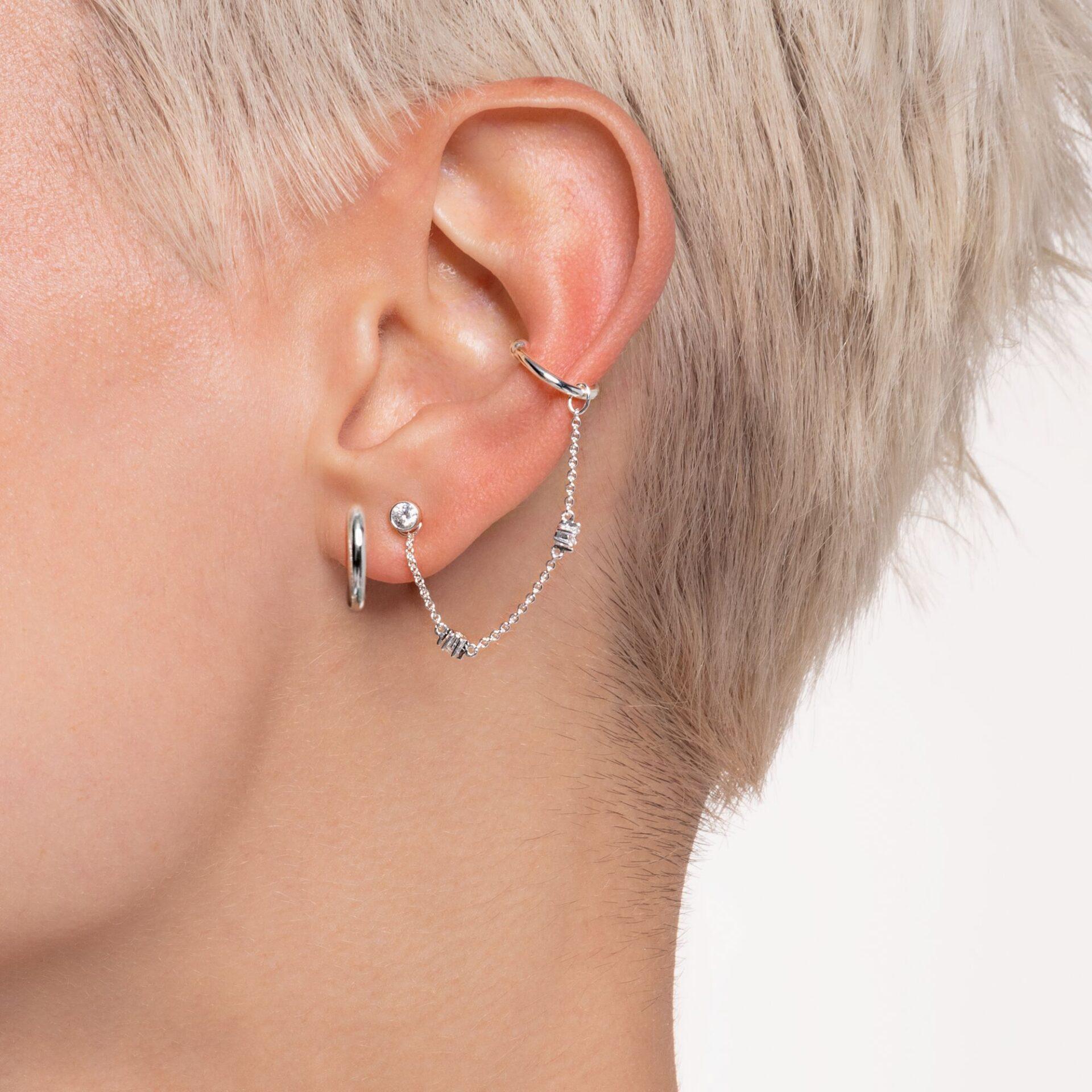 Clou d'oreille unique pierre blanche argent, Thomas Sabo