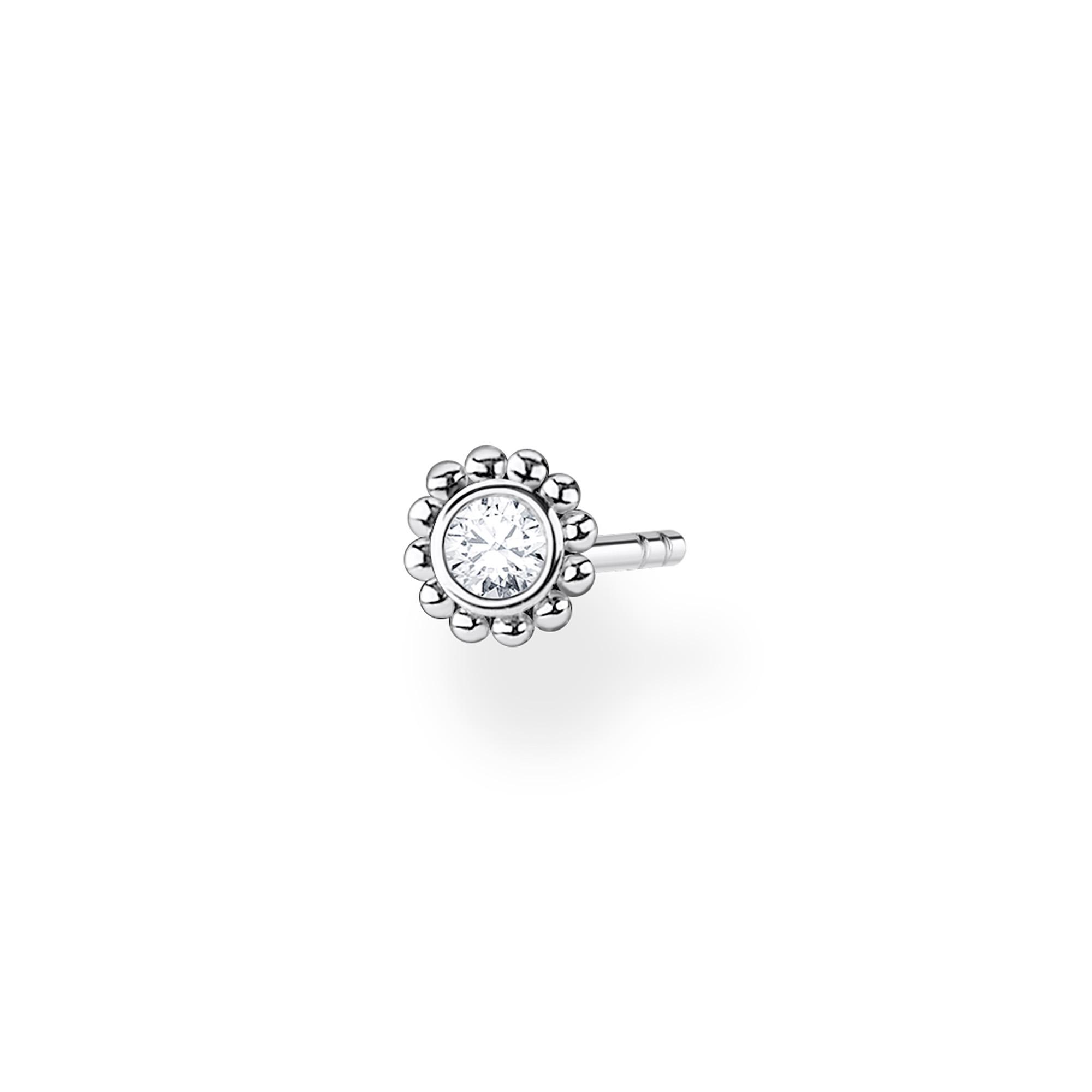 Clou d'oreille unique fleur pierre blanche argent, Thomas Sabo