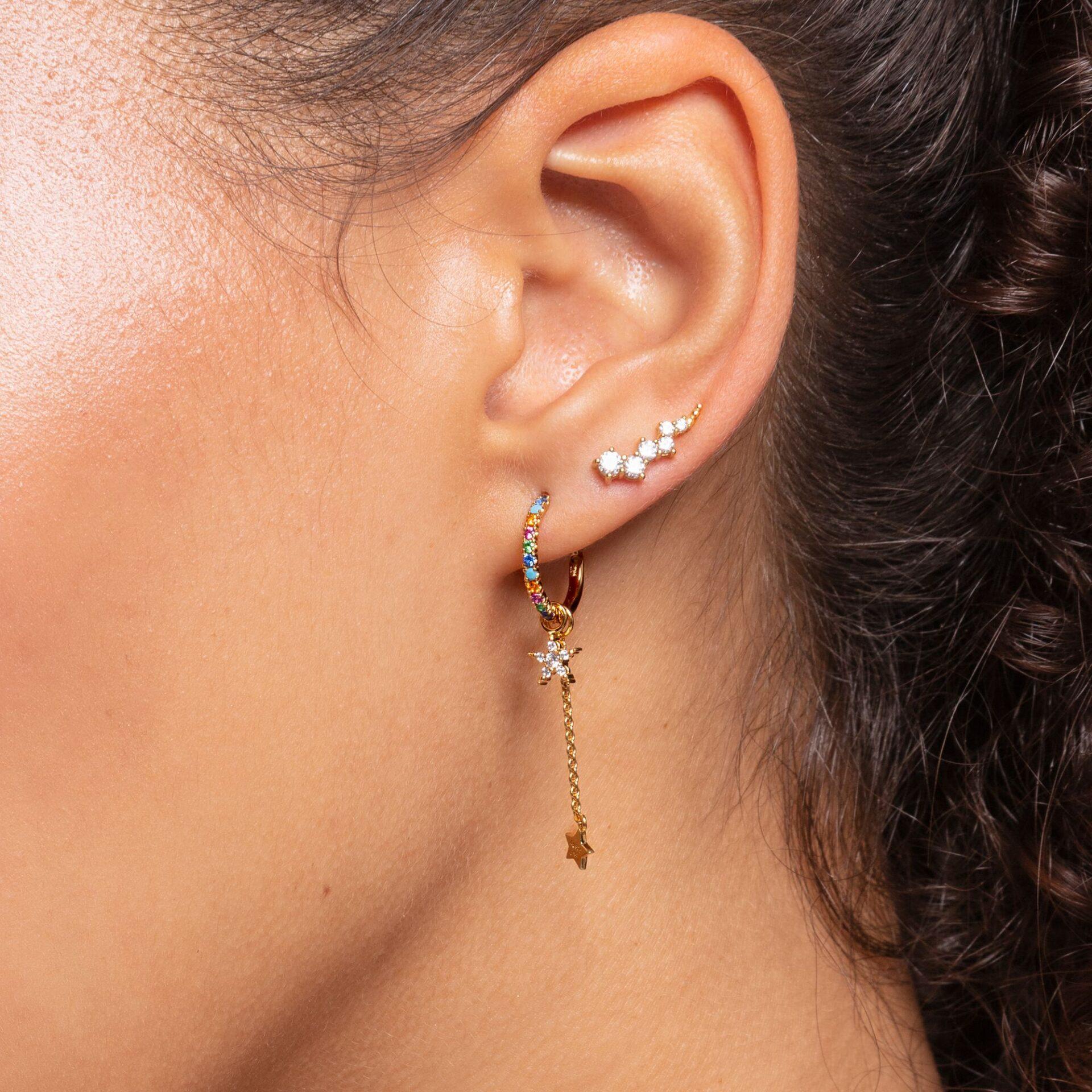 Boucles d'oreilles grimpante blanche pierres or, Thomas Sabo