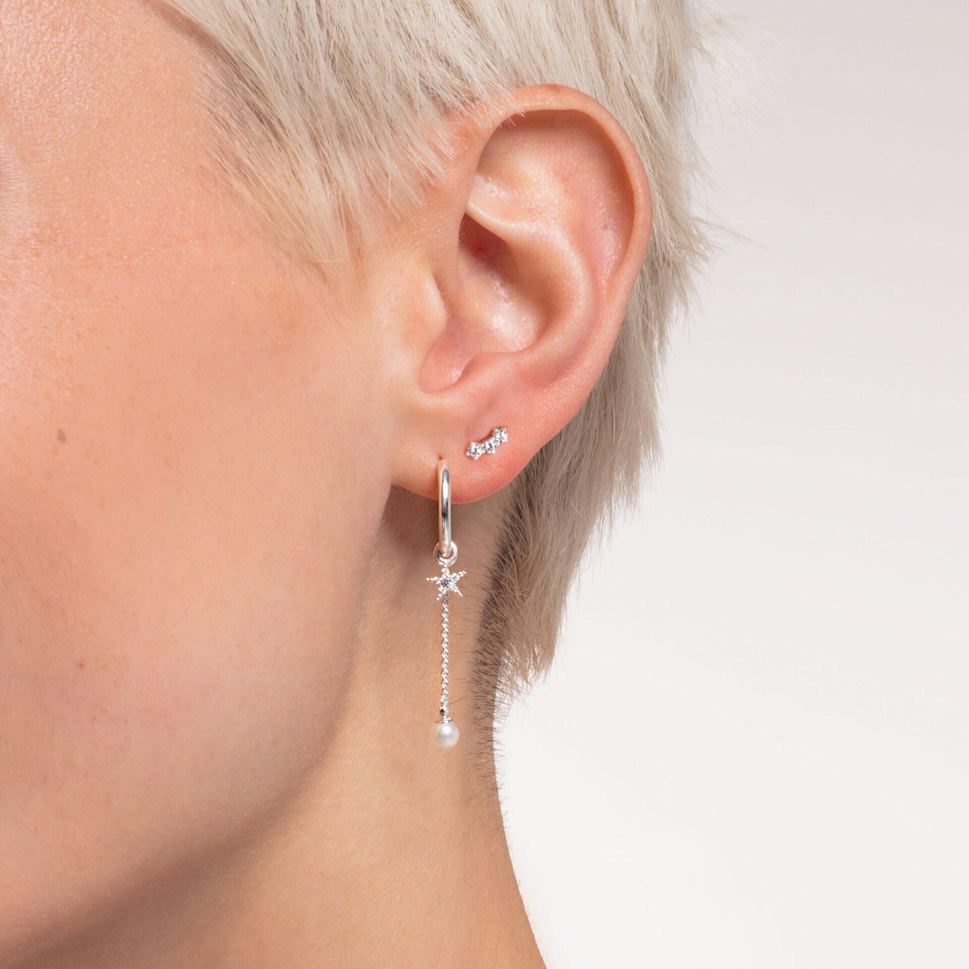Clou d'oreille unique pierres blanches argent, Thomas Sabo