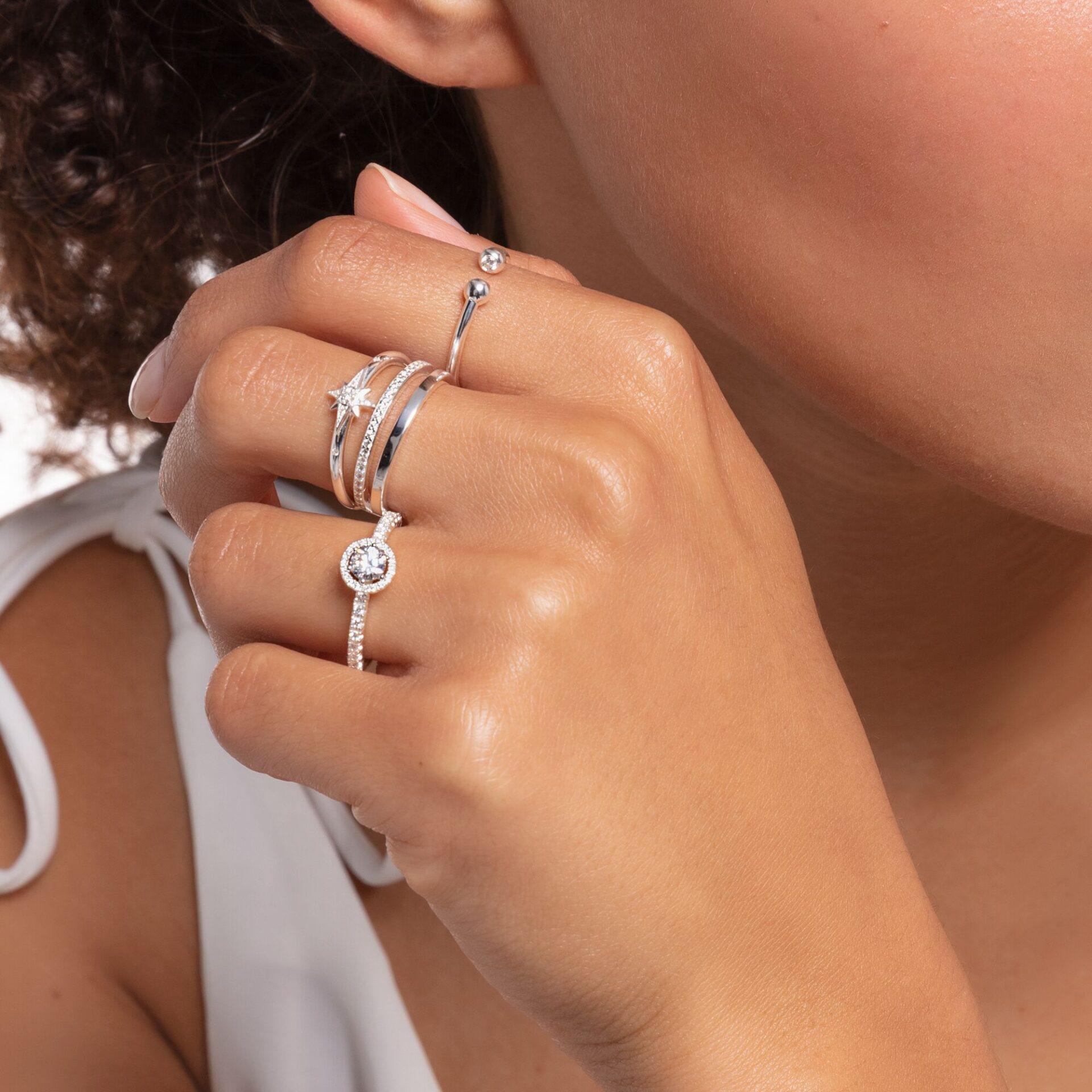Bague femme double pierres blanches argent, Thomas Sabo