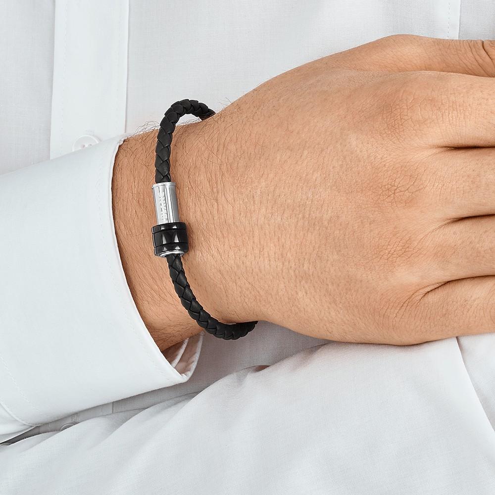 Bracelet en cuir noir tressé avec fermoir en acier, finition PVD noir et trois anneaux, Montblanc