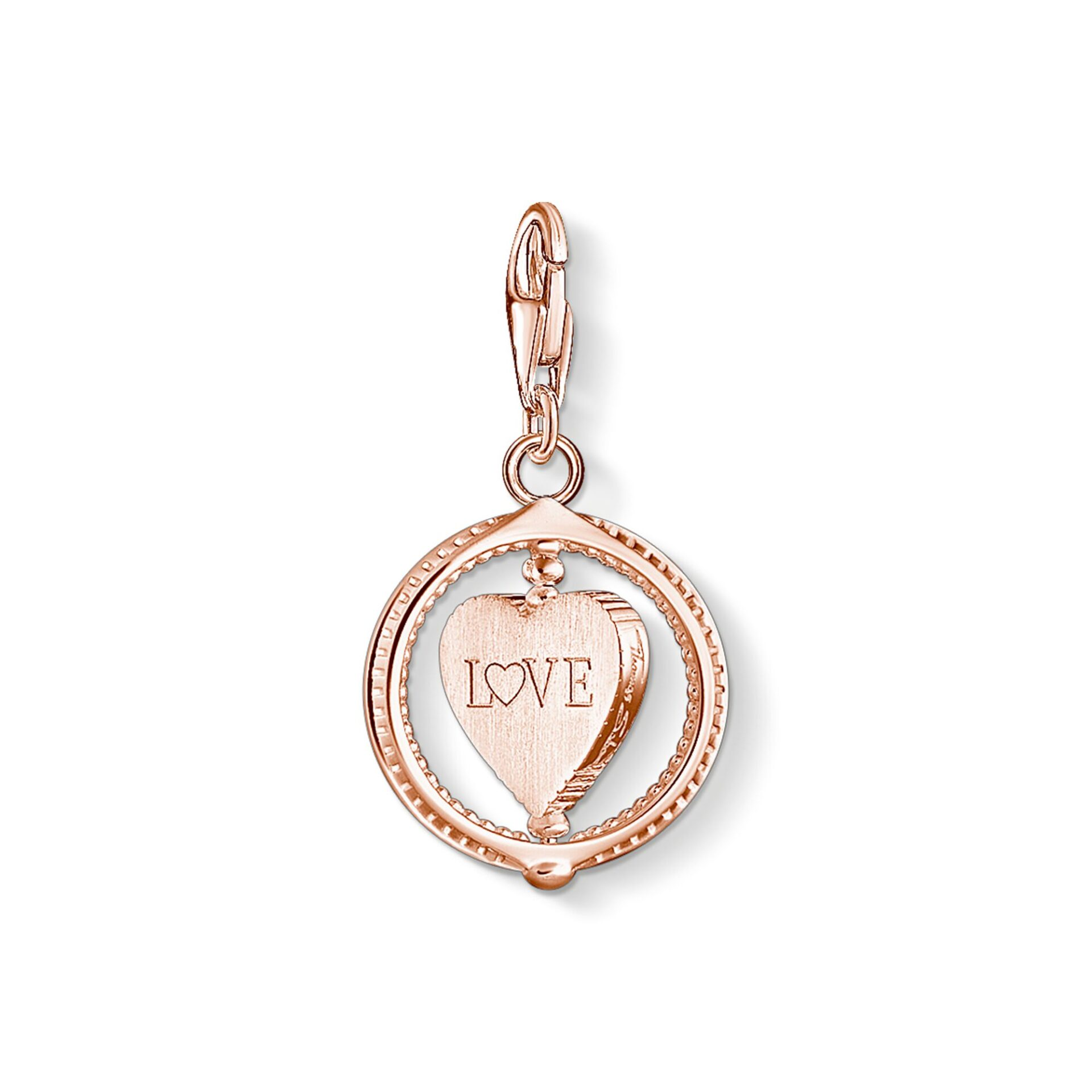 Pendentif Charm cœur avec pavé or rose, Thomas Sabo