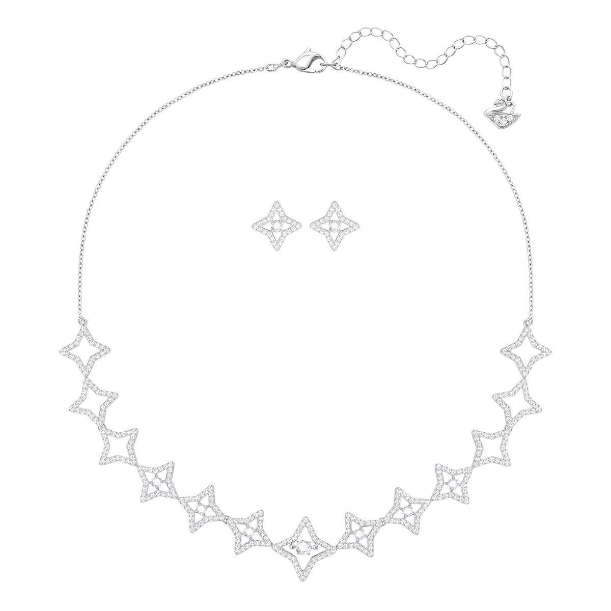 Parure Sparkling Dance Star, blanc, Métal rhodié, Swarovski