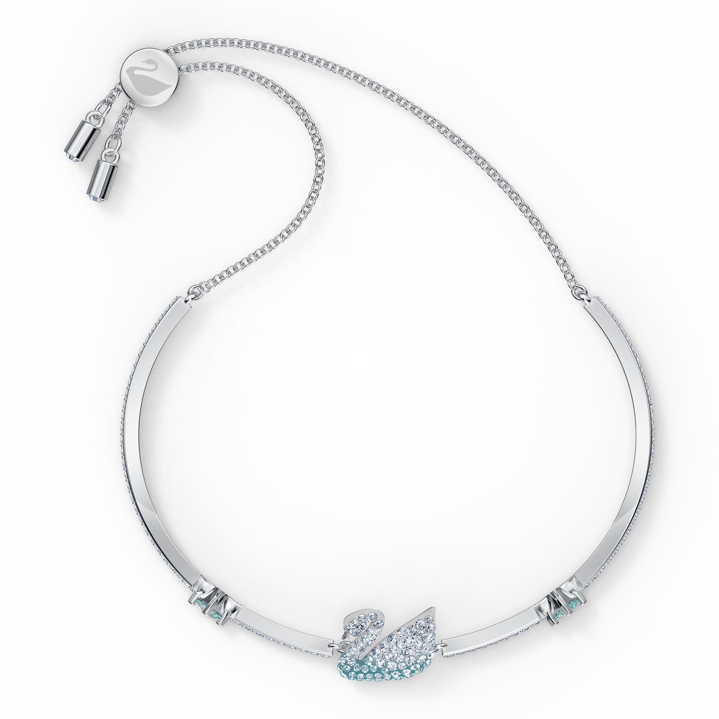 Bracelet-jonc Iconic Swan, bleu, métal rhodié, Swarovski