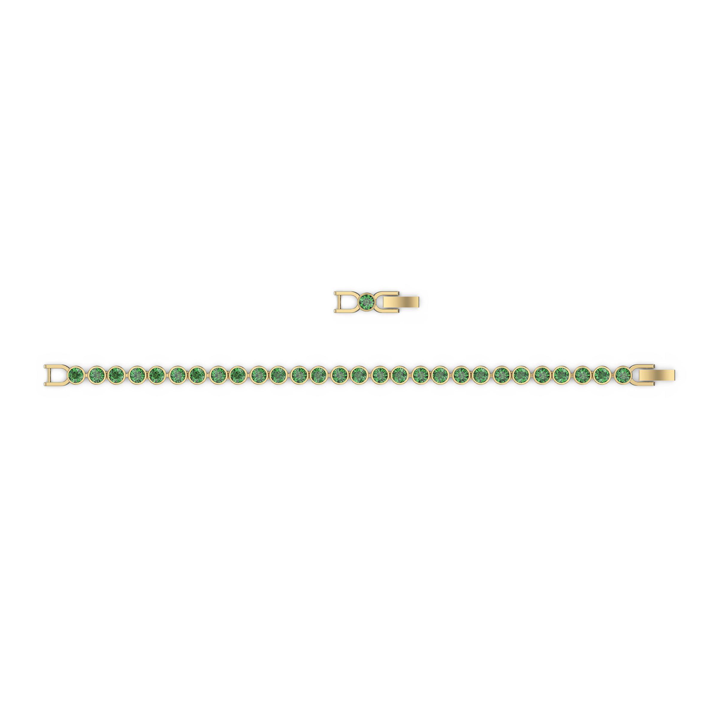Bracelet Tennis, vert, métal doré, Swarovski