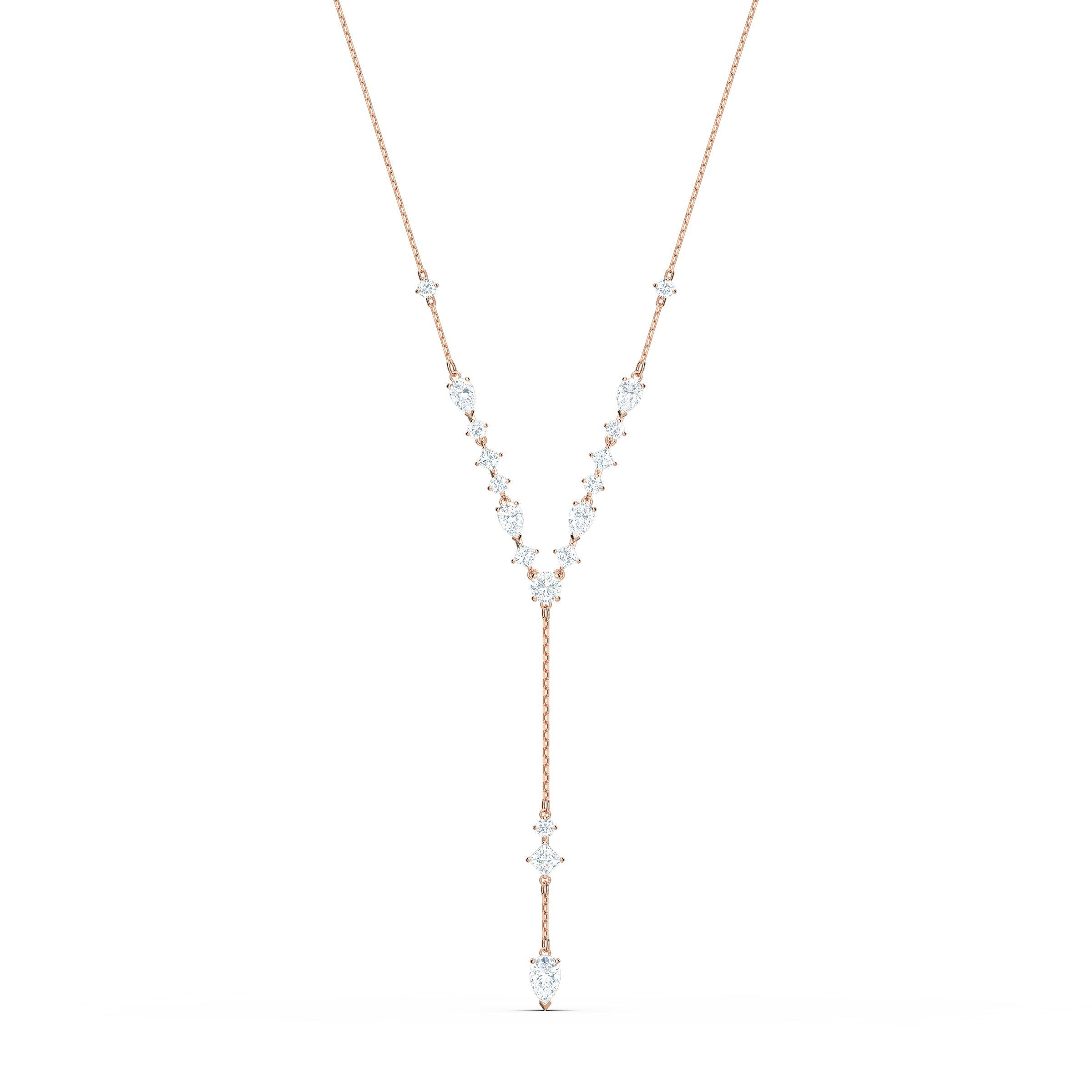 Collier en Y Attract, blanc, métal doré rose, Swarovski
