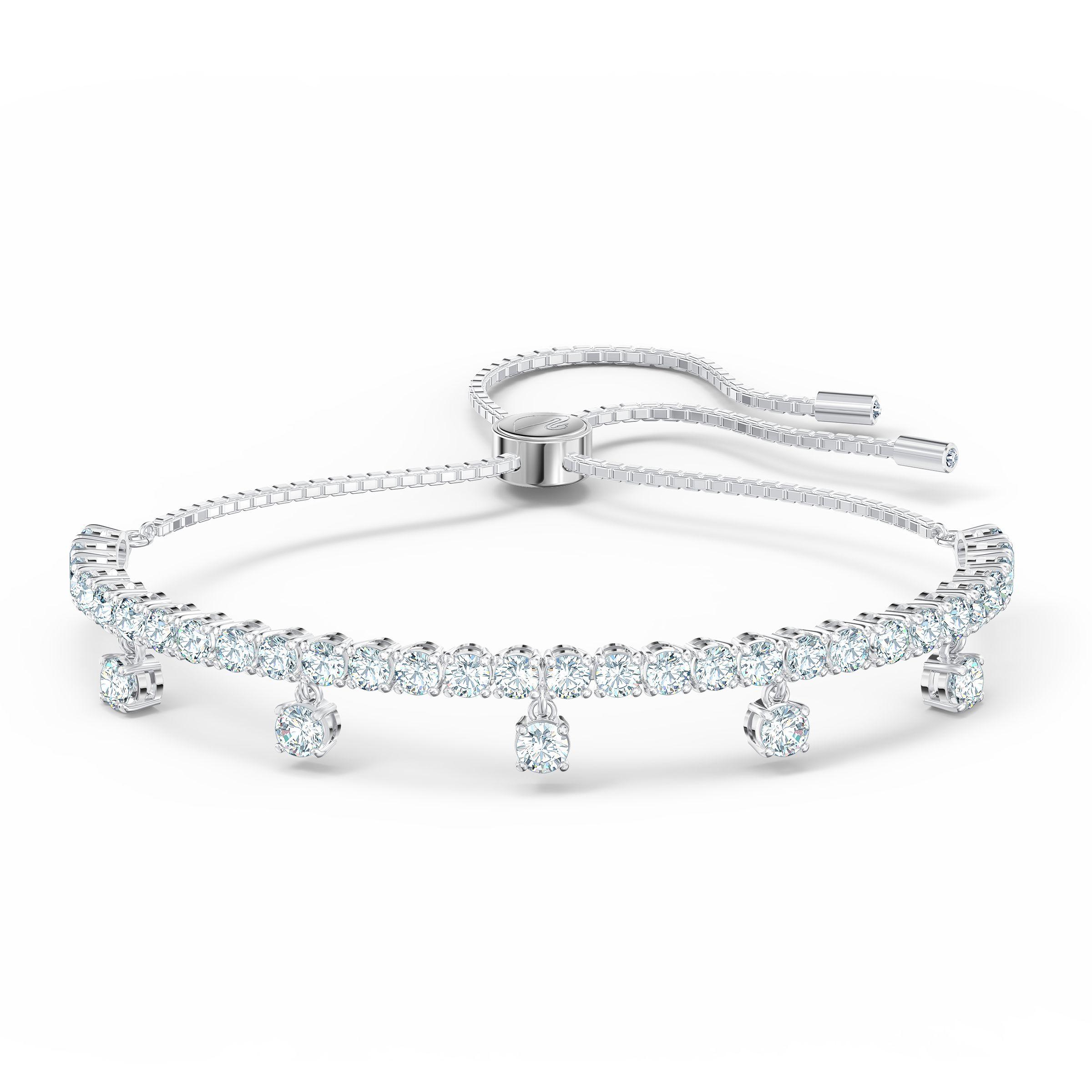 Bracelet Subtle Drops, blanc, métal rhodié, Swarovski