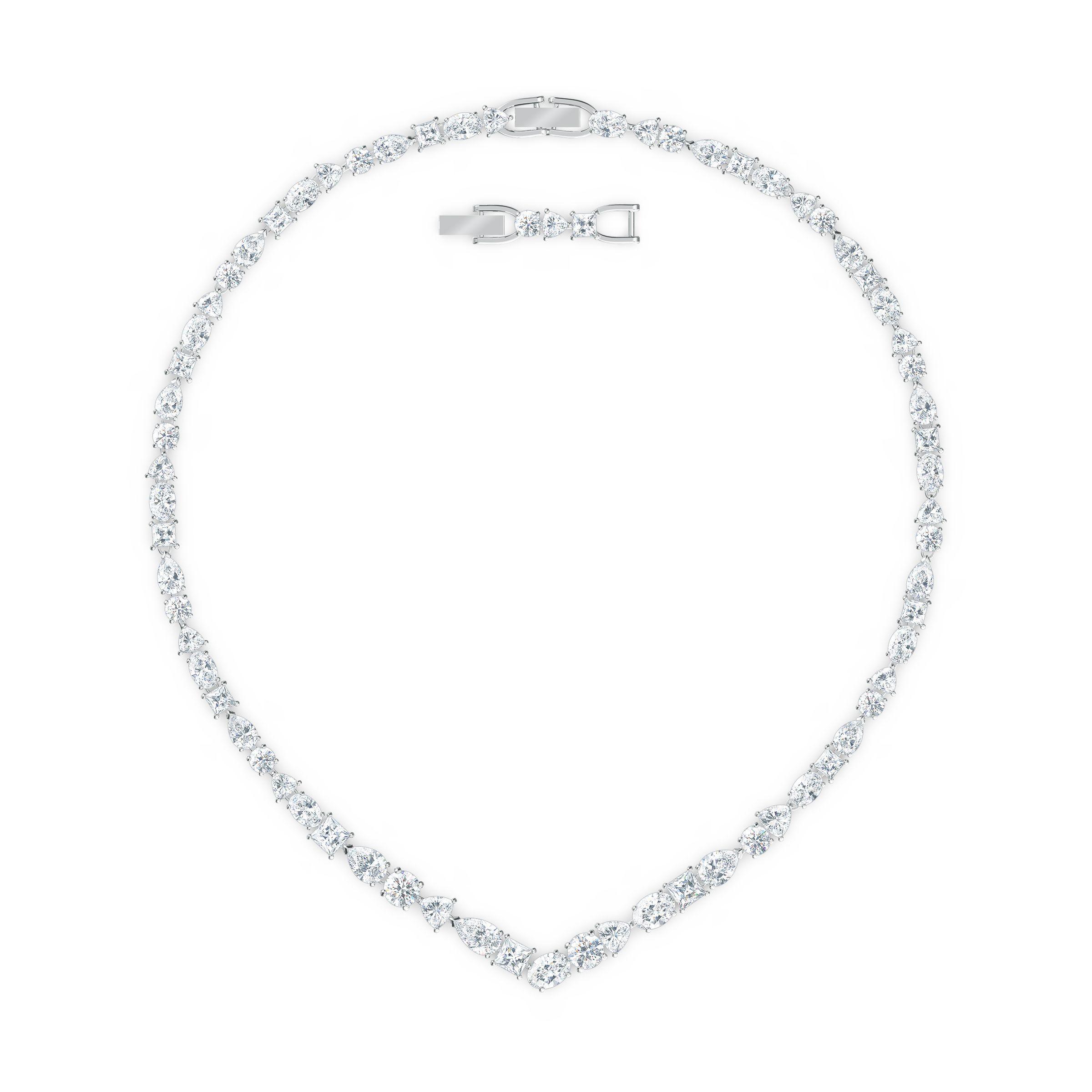 Collier en V Tennis Deluxe Mixed, blanc, métal rhodié, Swarovski
