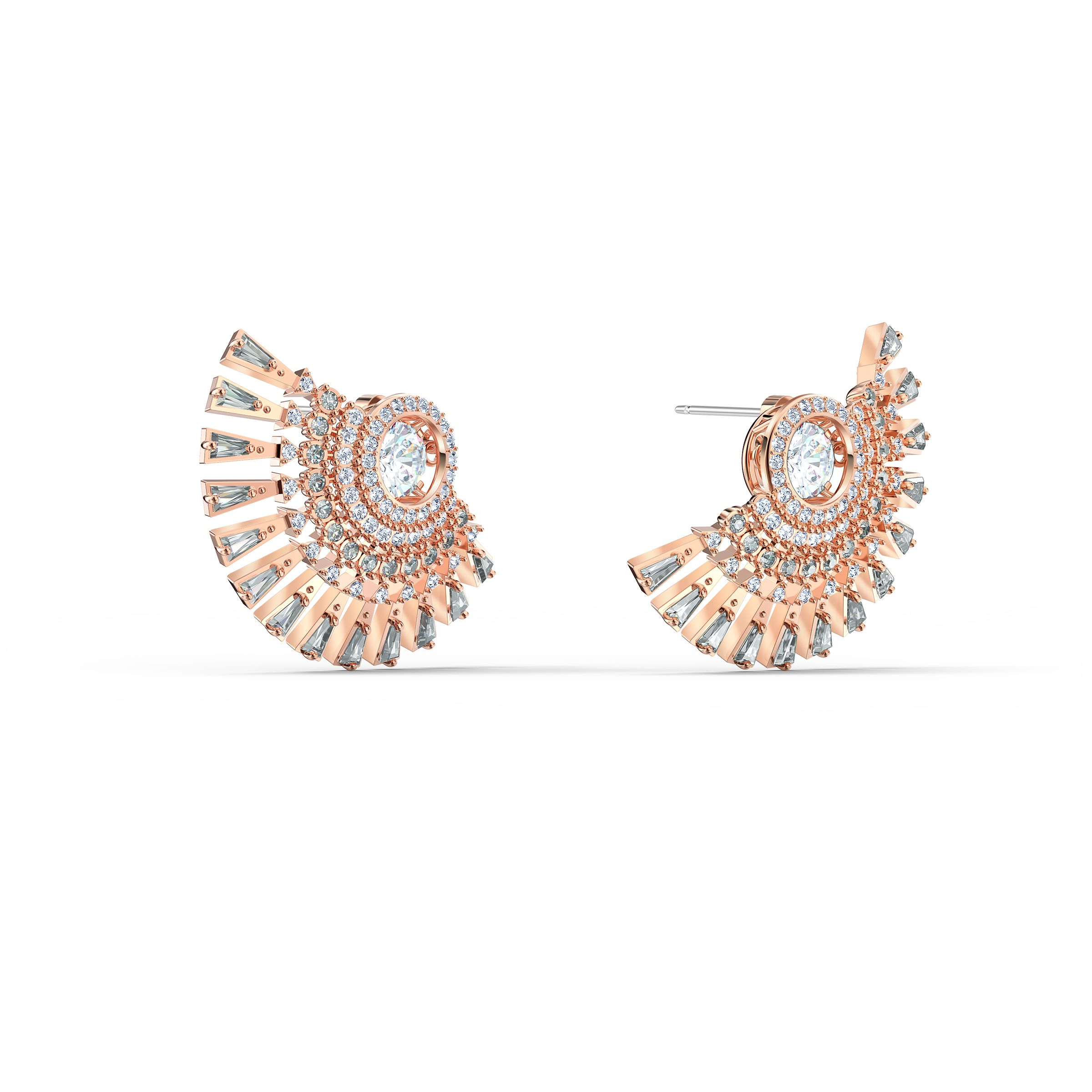 Boucles d'oreilles Swarovski Sparkling Dance Dial Up, gris, métal doré rose, Swarovski