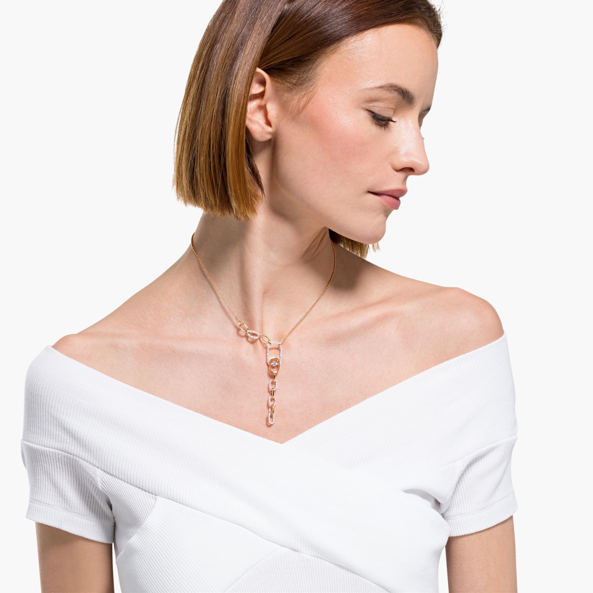 Collier en Y Swarovski Sparkling Dance North, blanc, finition mix de métal, Swarovski