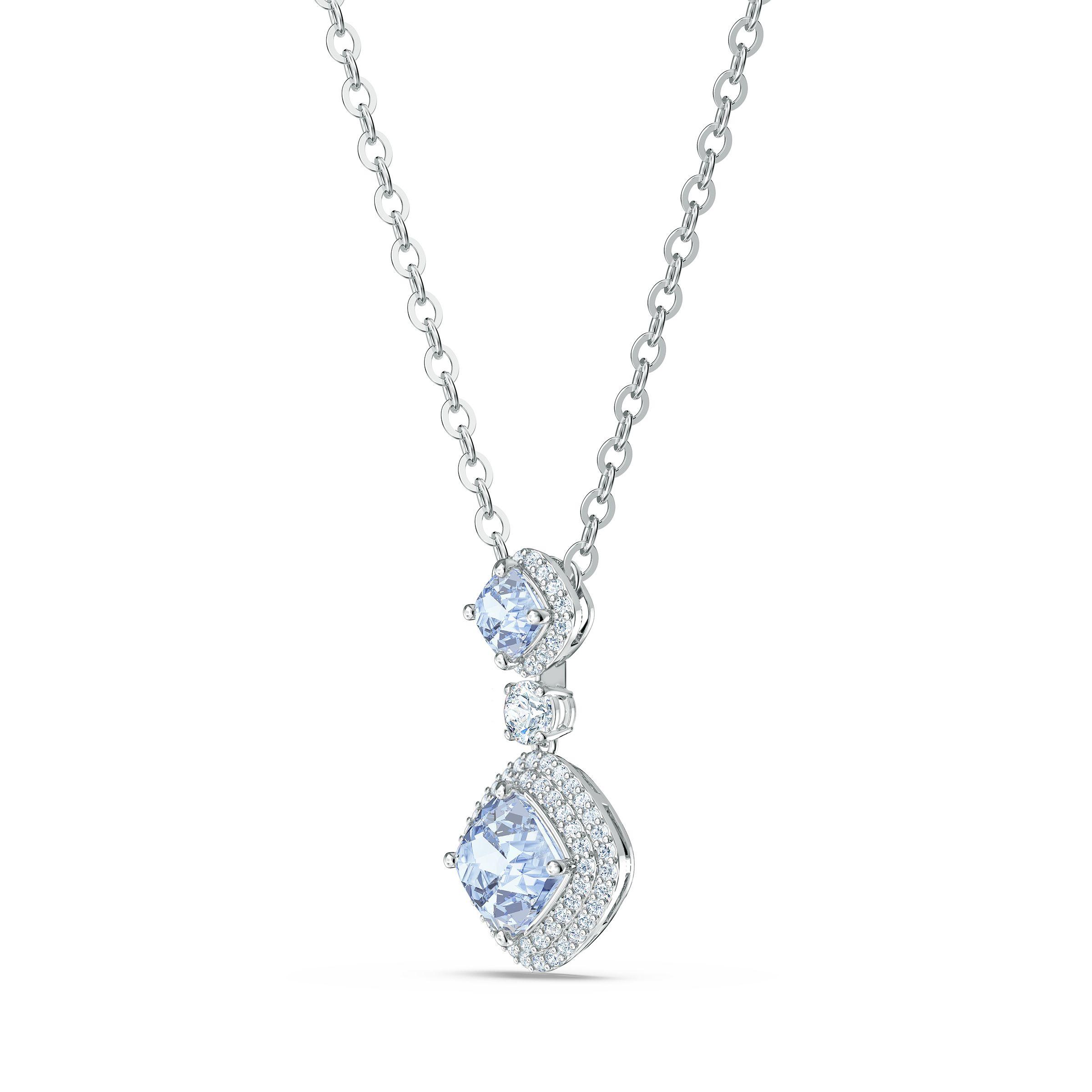 Collier Angelic, bleu, métal rhodié, Swarovski