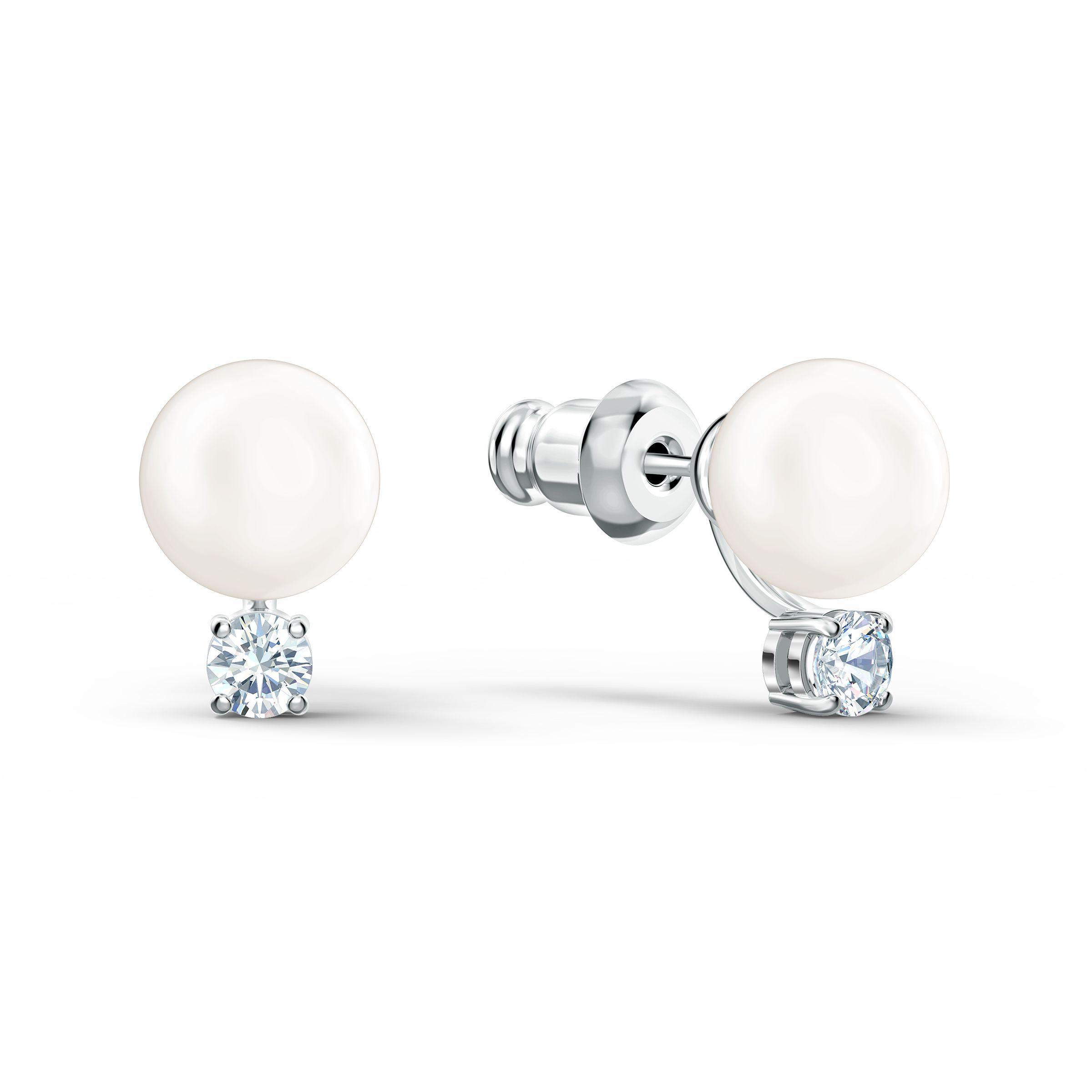 Boucles d'oreilles Treasure Pearl, blanc, métal rhodié, Swarovski