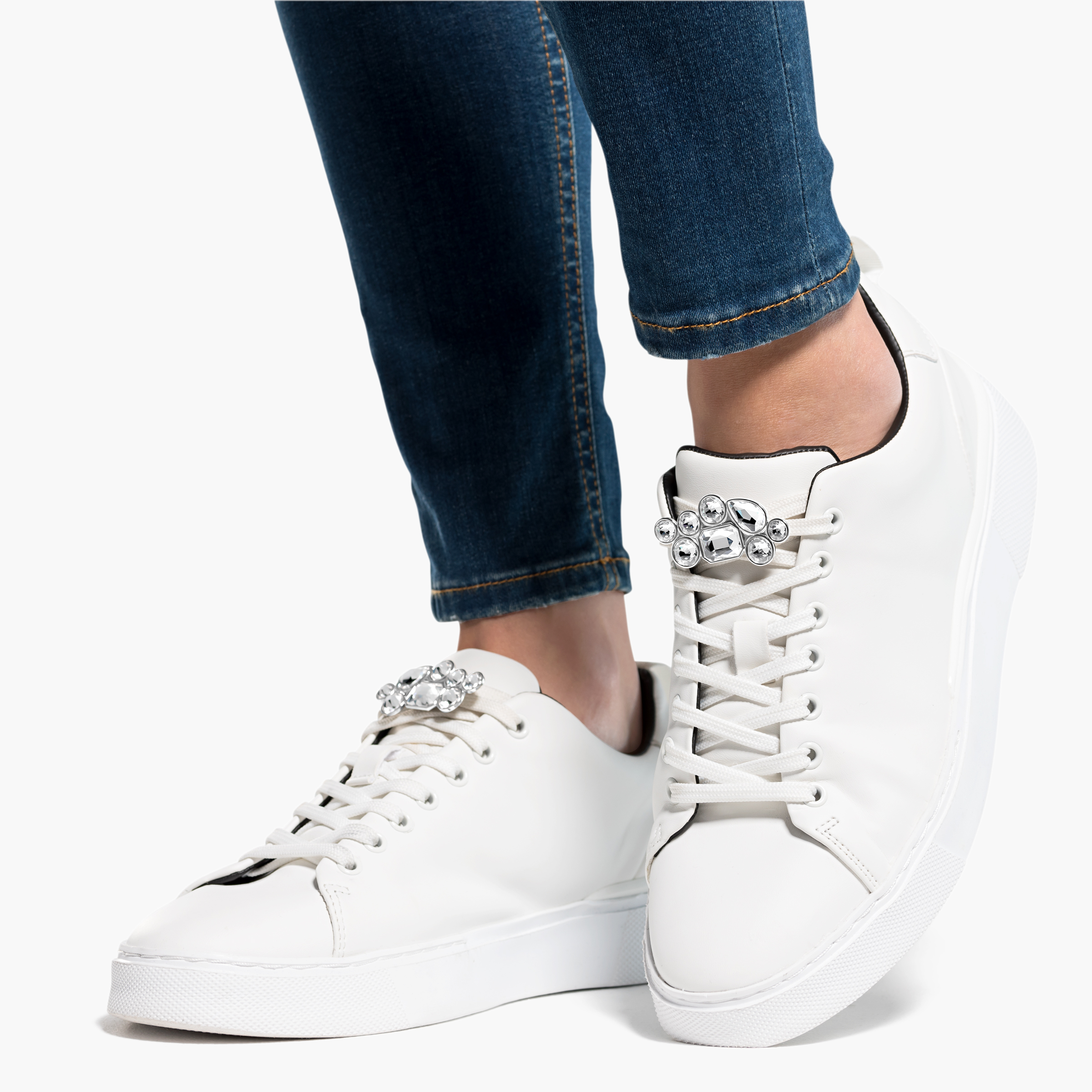 Clips à chaussure Swarovski, blanc, métal rhodié, Swarovski