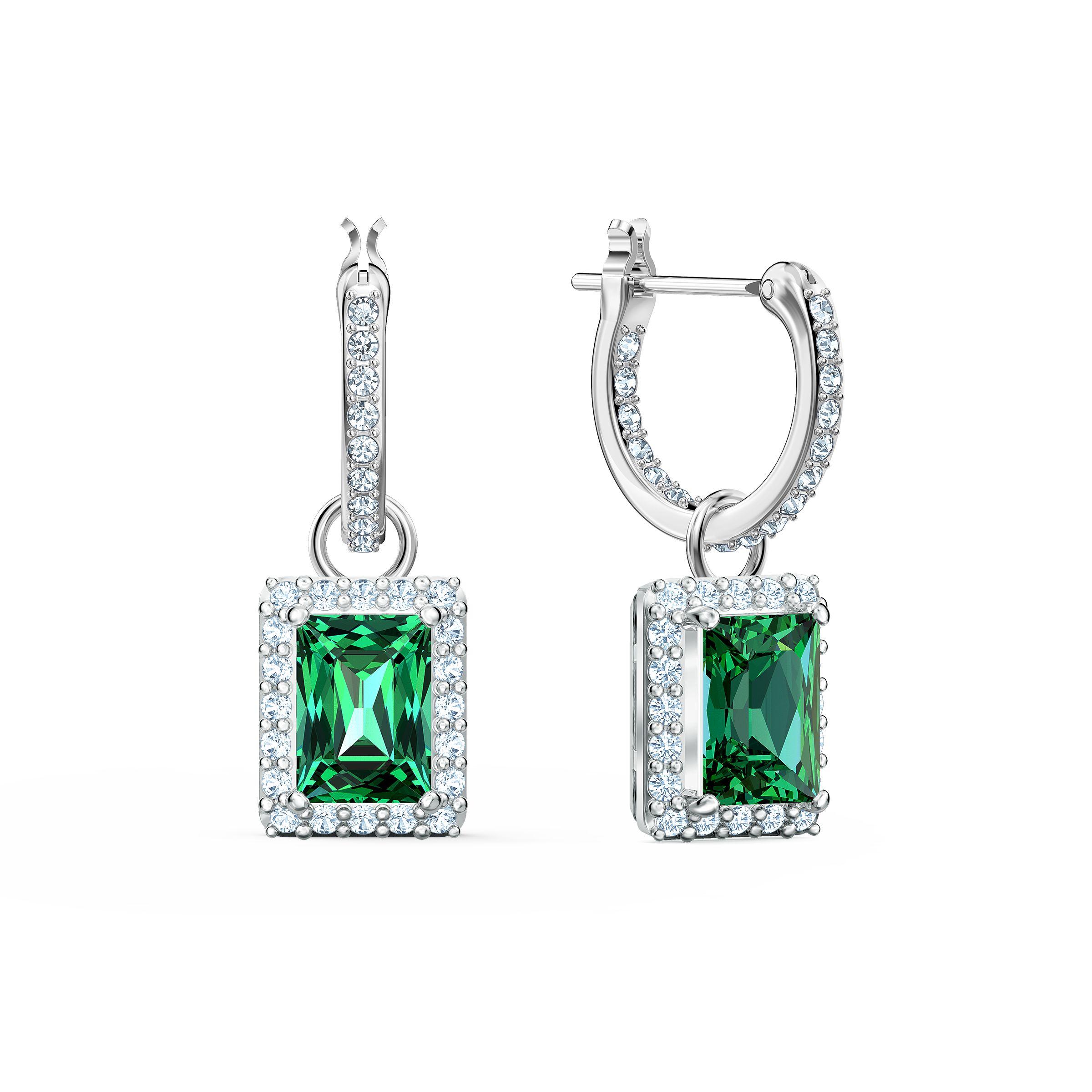 Boucles d'oreilles Angelic Rectangular, vert, métal rhodié, Swarovski