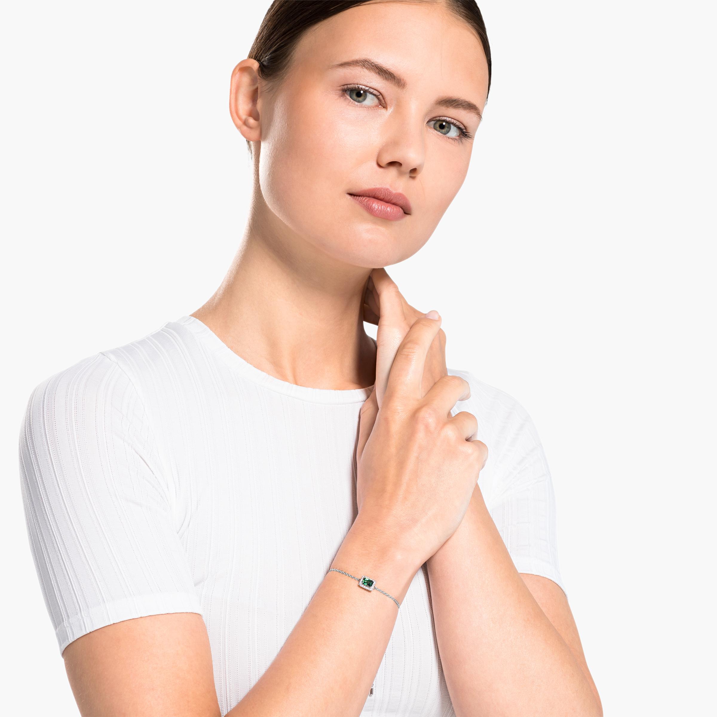 Bracelet Angelic Rectangular, vert, métal rhodié, Swarovski