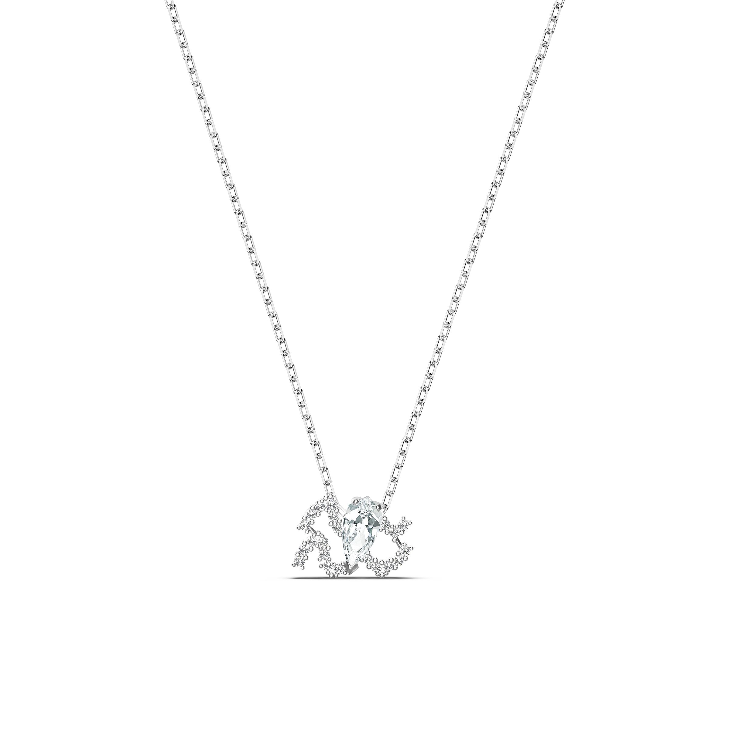 Pendentif Zodiac II, Verseau, blanc, finition mix de métal, Swarovski