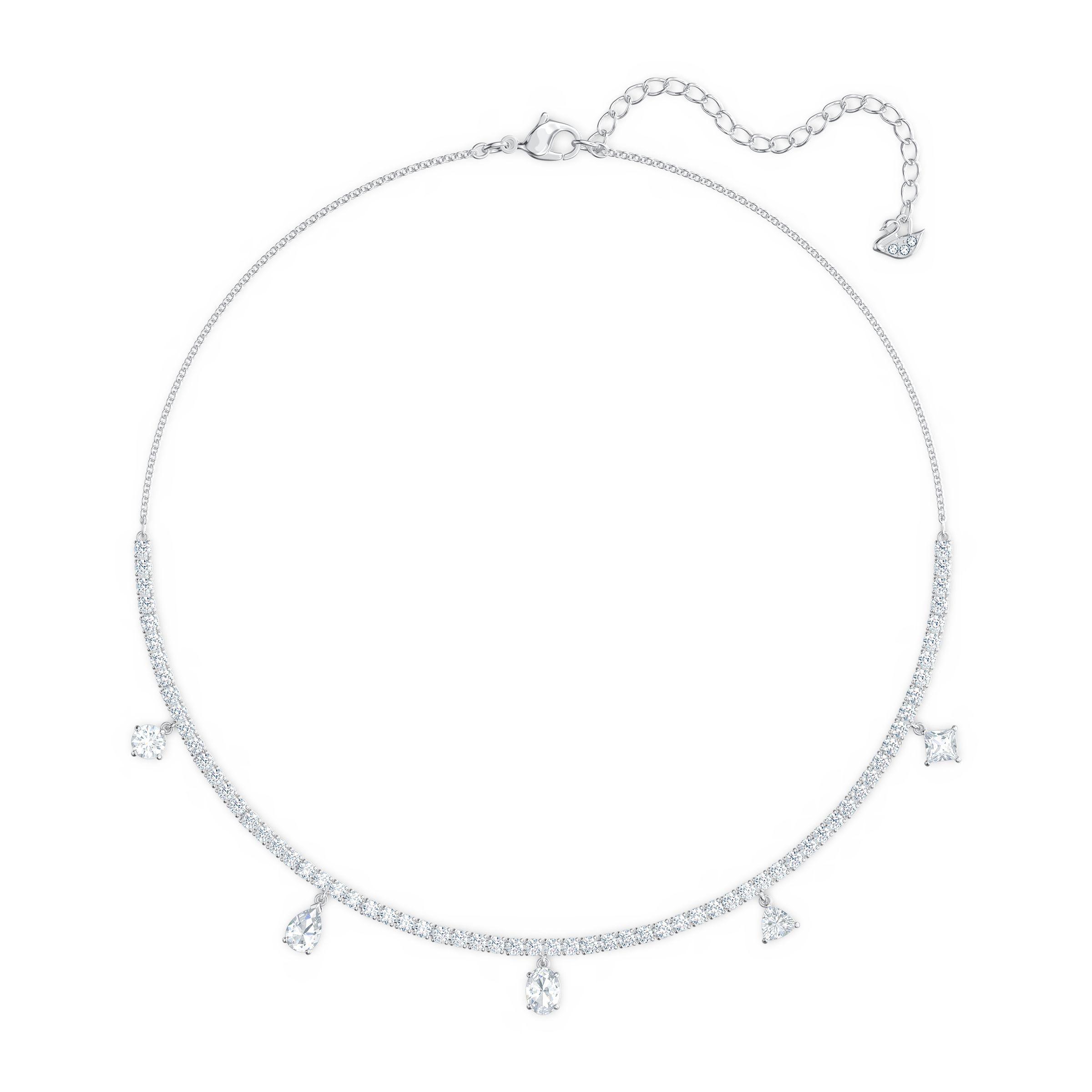 Ras-de-cou Tennis Deluxe Mixed, blanc, métal rhodié, Swarovski