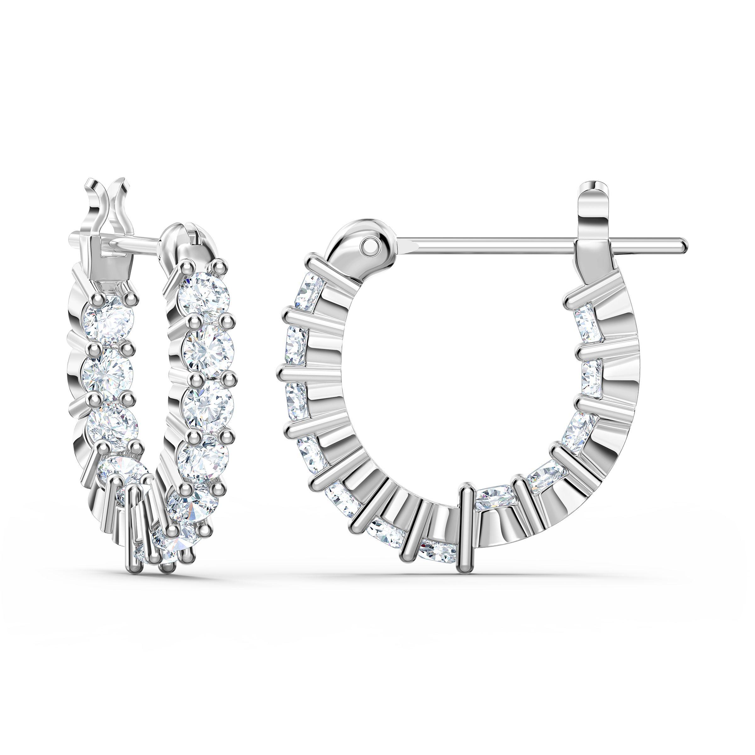 Créoles Vittore Mini, blanc, métal rhodié, Swarovski