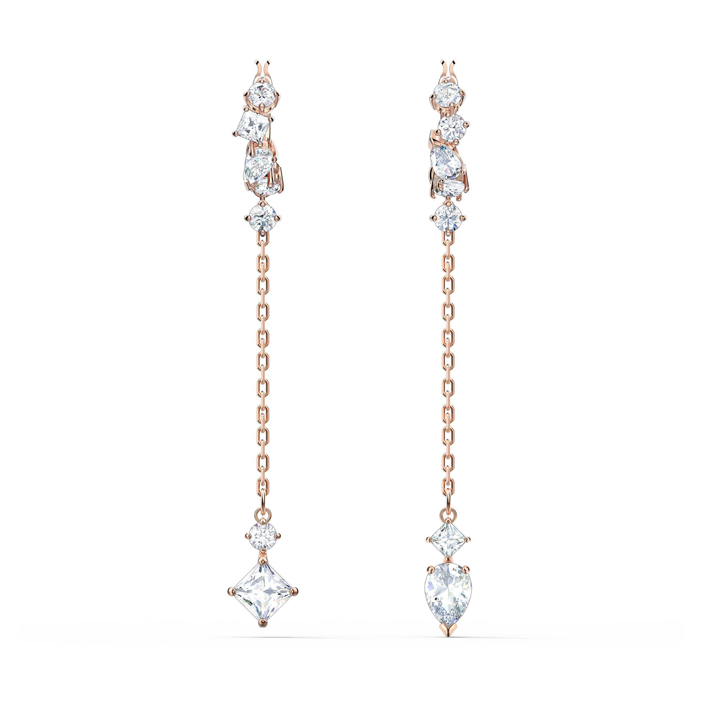 Boucles d'oreilles Attract, blanc, métal doré rose, Swarovski