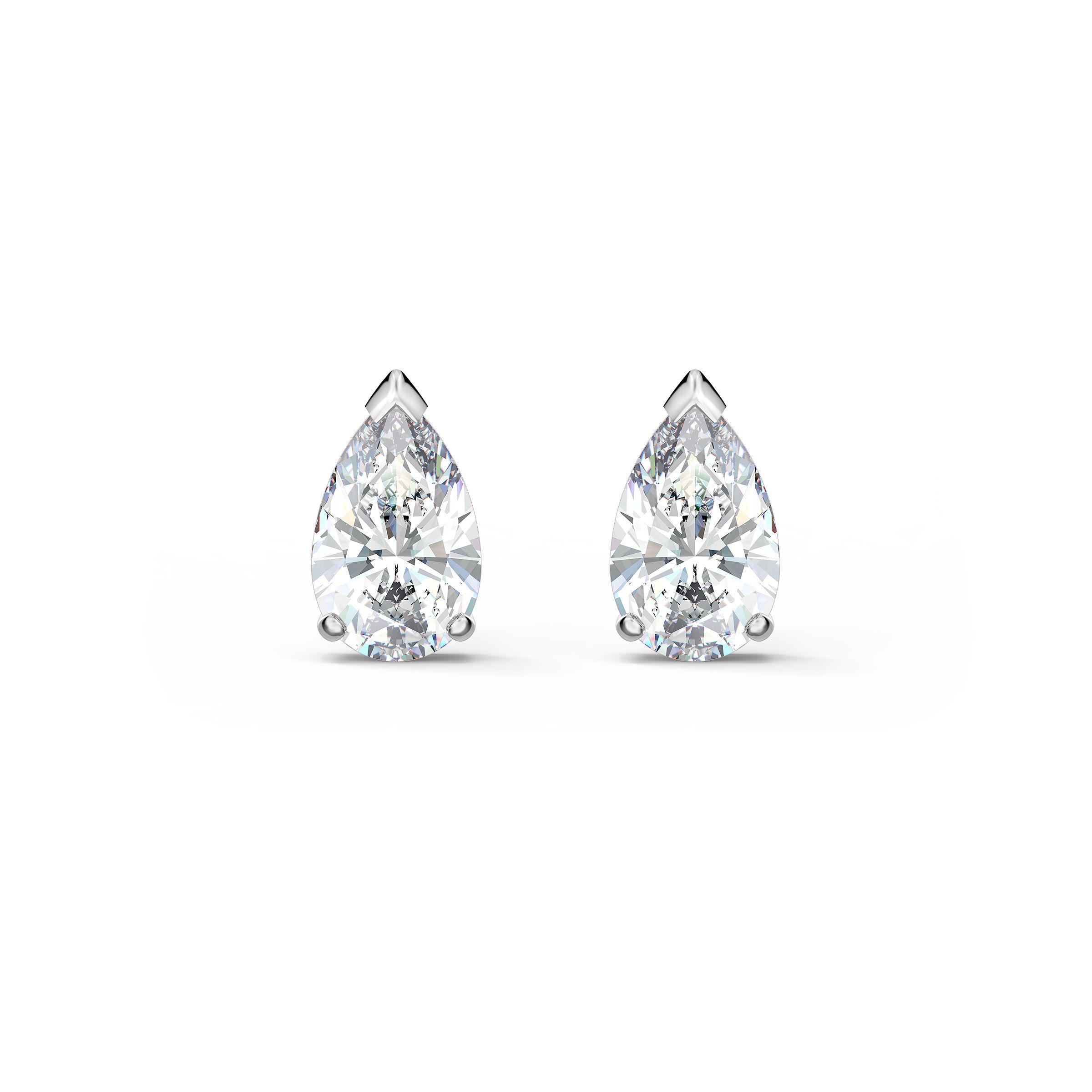 Boucles d'oreilles clous Attract Pear, blanc, métal rhodié, Swarovski