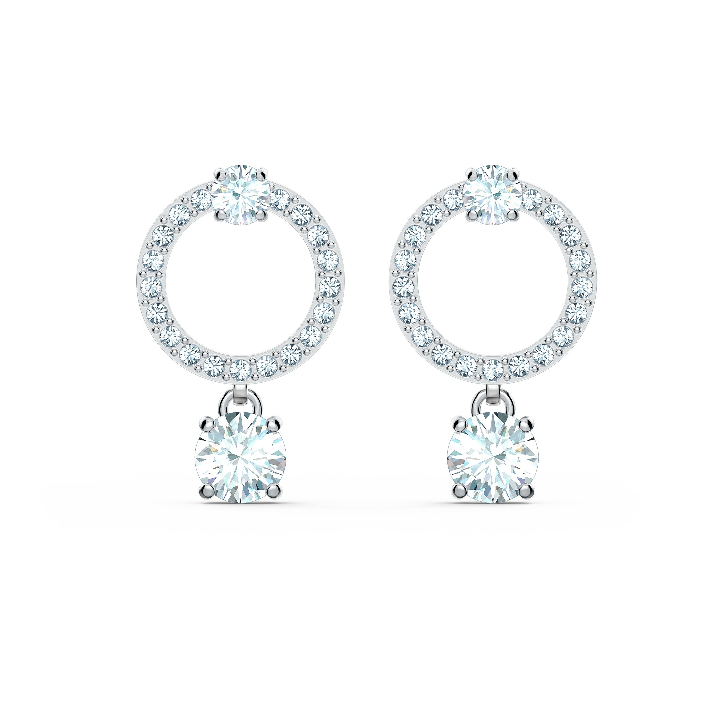 Boucles d'oreilles Attract Circle, blanc, métal rhodié, Swarovski