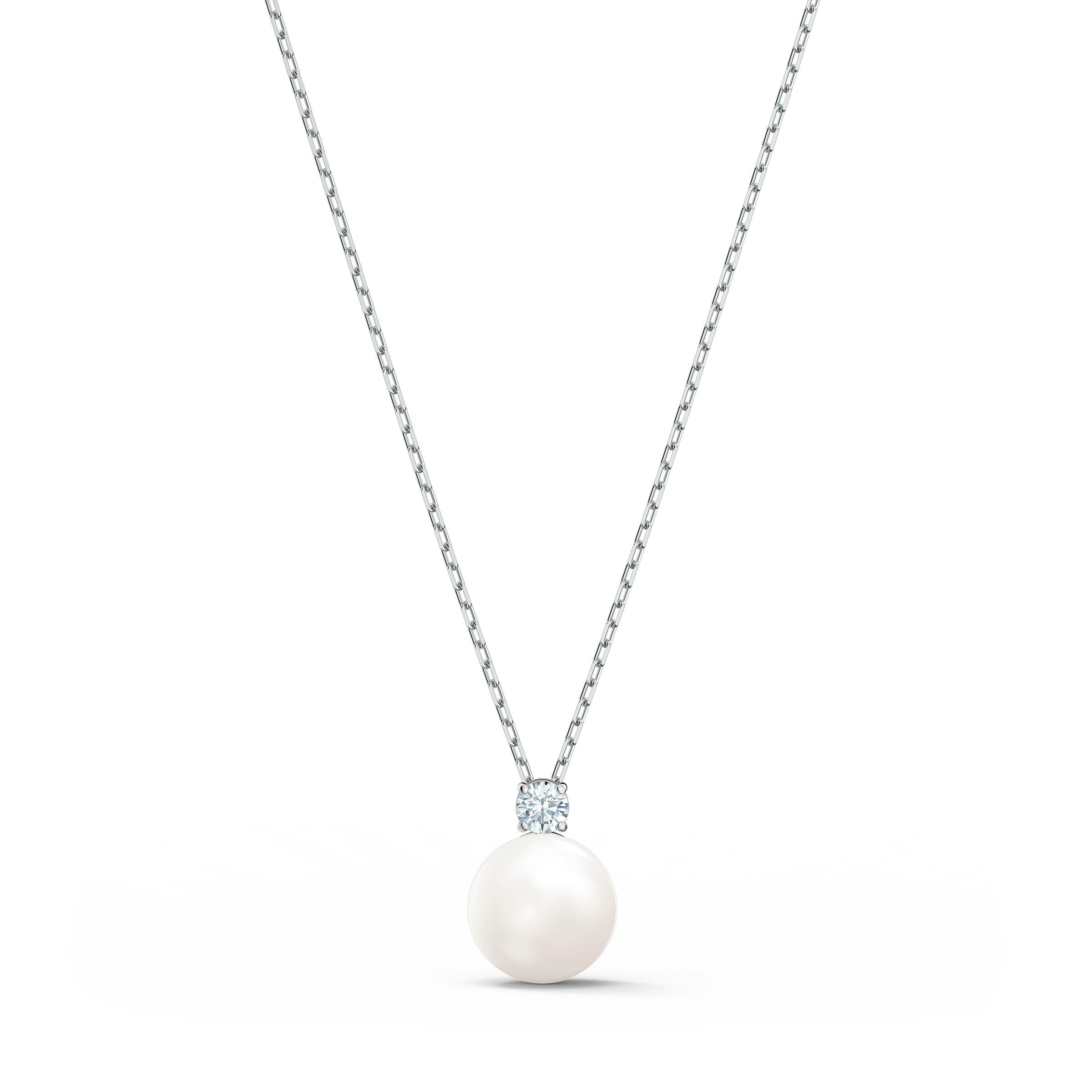 Collier Treasure Pearl, blanc, métal rhodié, Swarovski