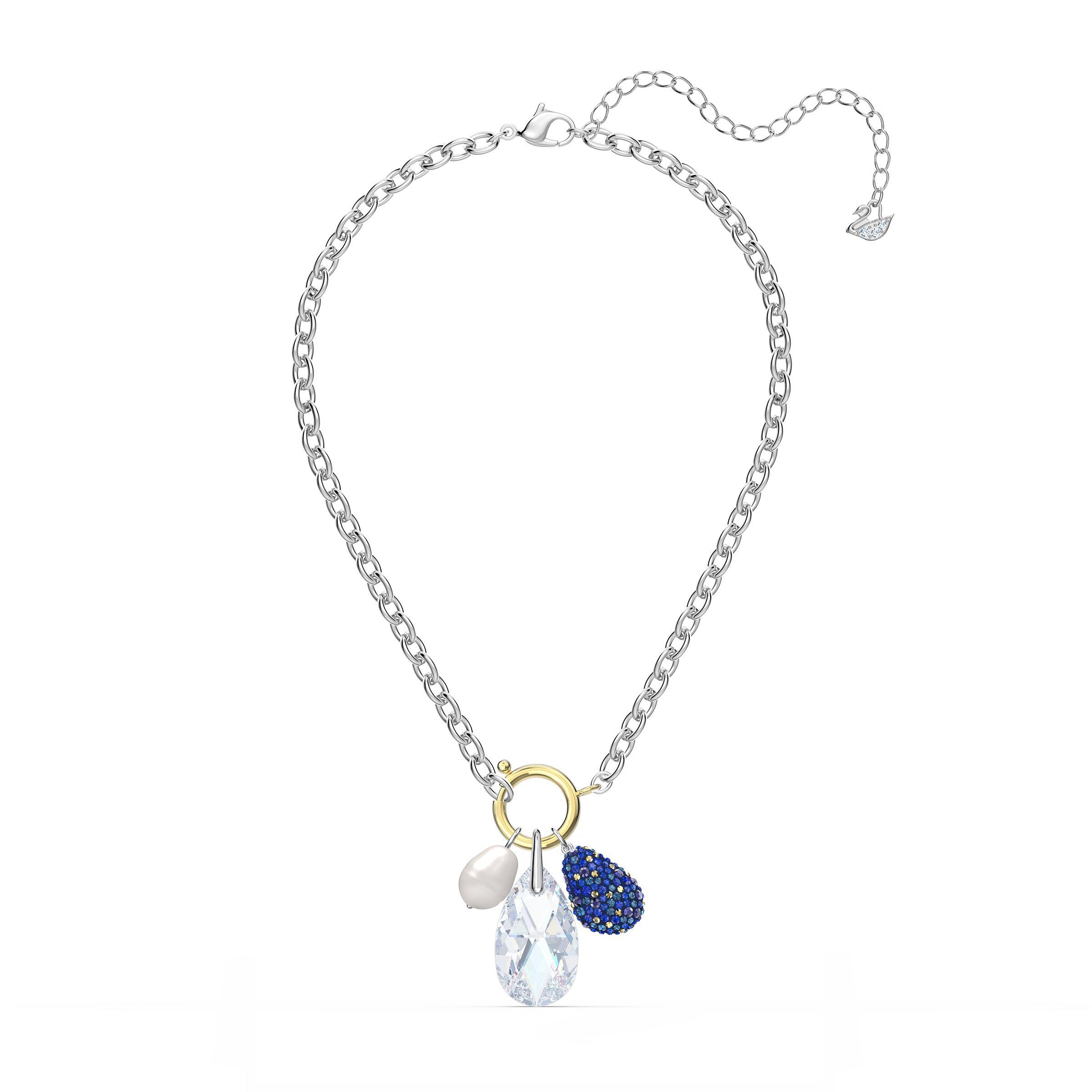 Collier The Elements, bleu, finition mix de métal, Swarovski