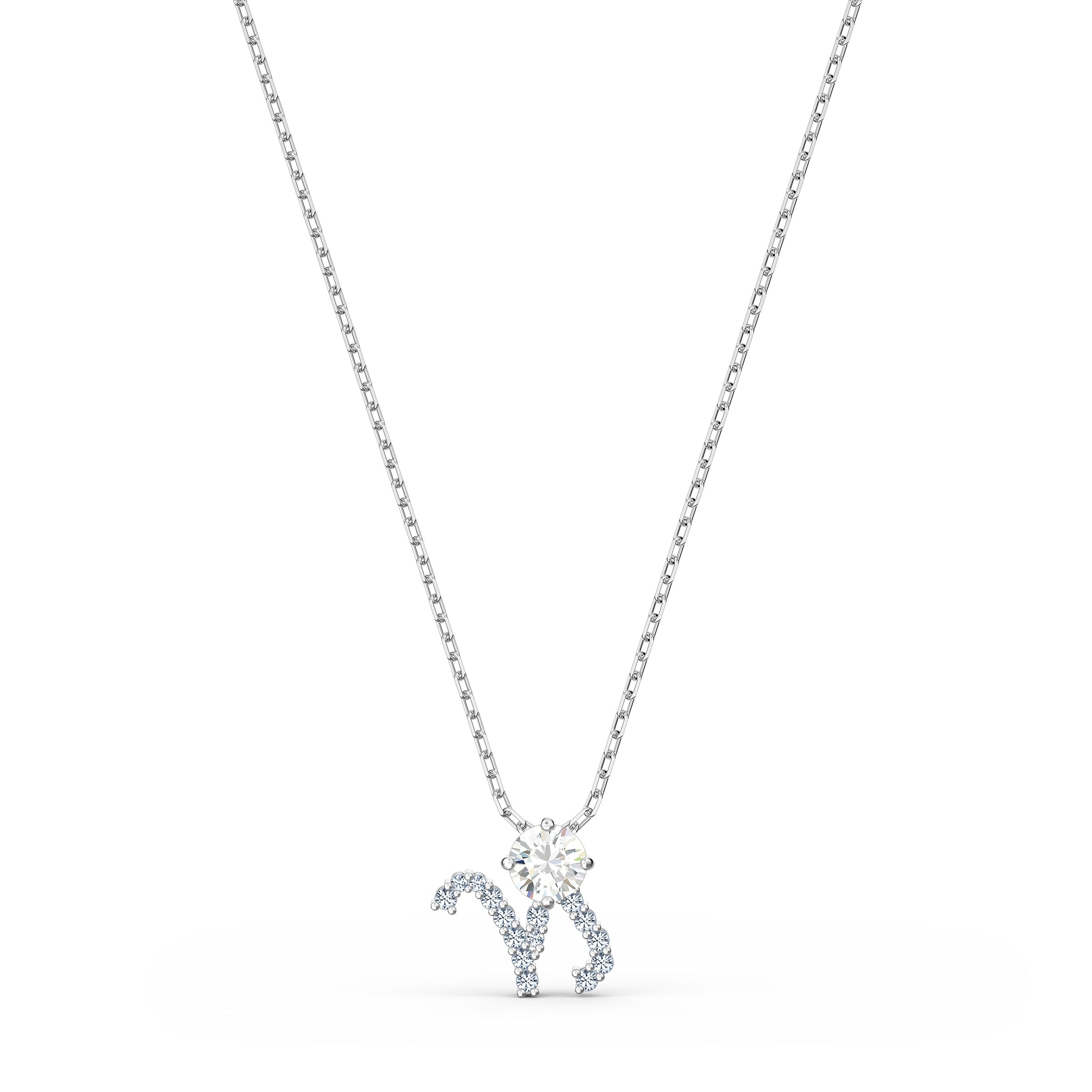 Pendentif Zodiac II, Capricorne, blanc, finition mix de métal, Swarovski
