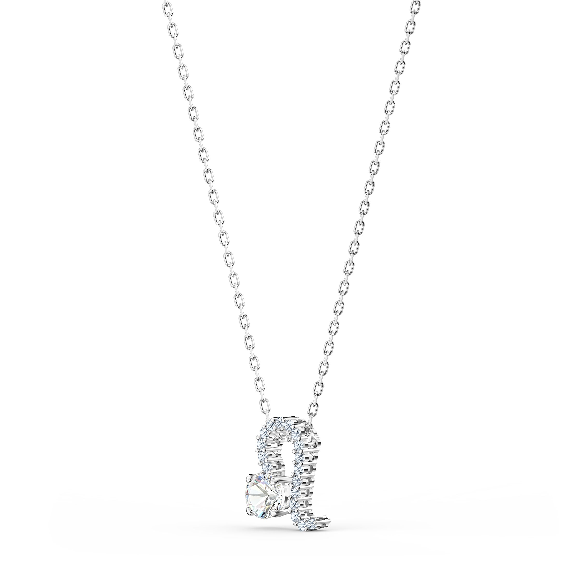 Pendentif Zodiac II, Lion, blanc, finition mix de métal, Swarovski