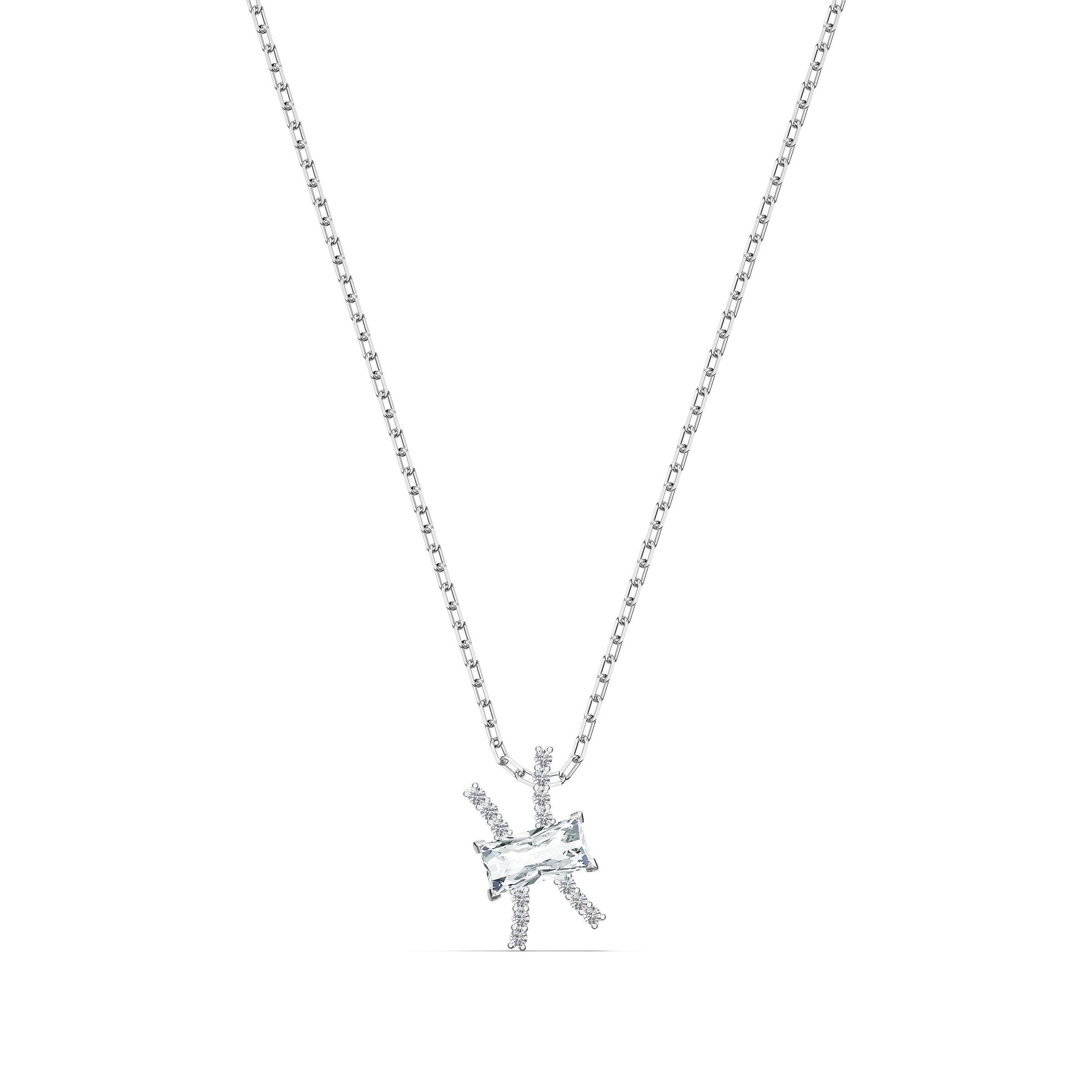 Pendentif Zodiac II, Poissons, blanc, finition mix de métal, Swarovski