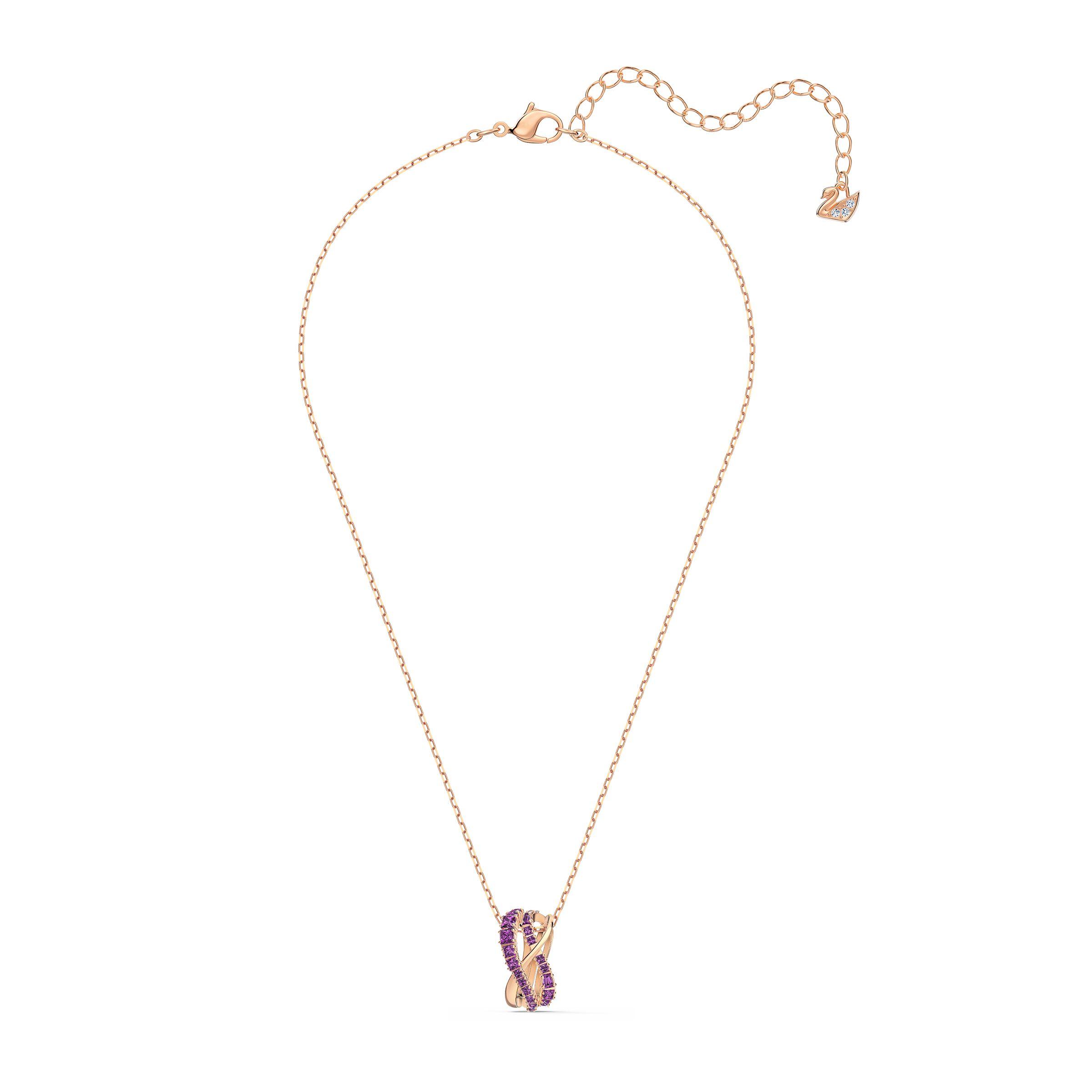 Pendentif Twist Rows, violet, métal doré rose, Swarovski