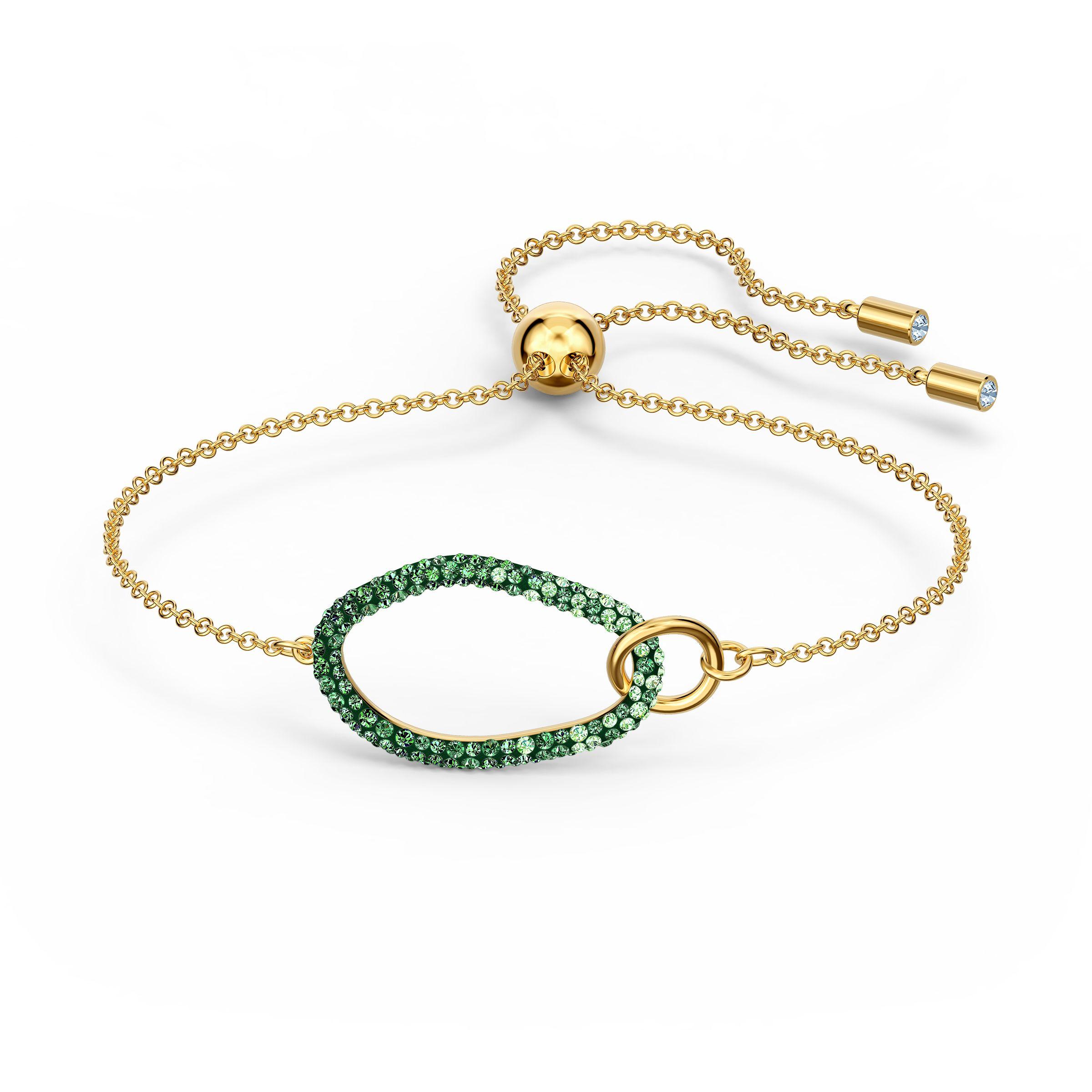 Bracelet The Elements, vert, métal doré, Swarovski