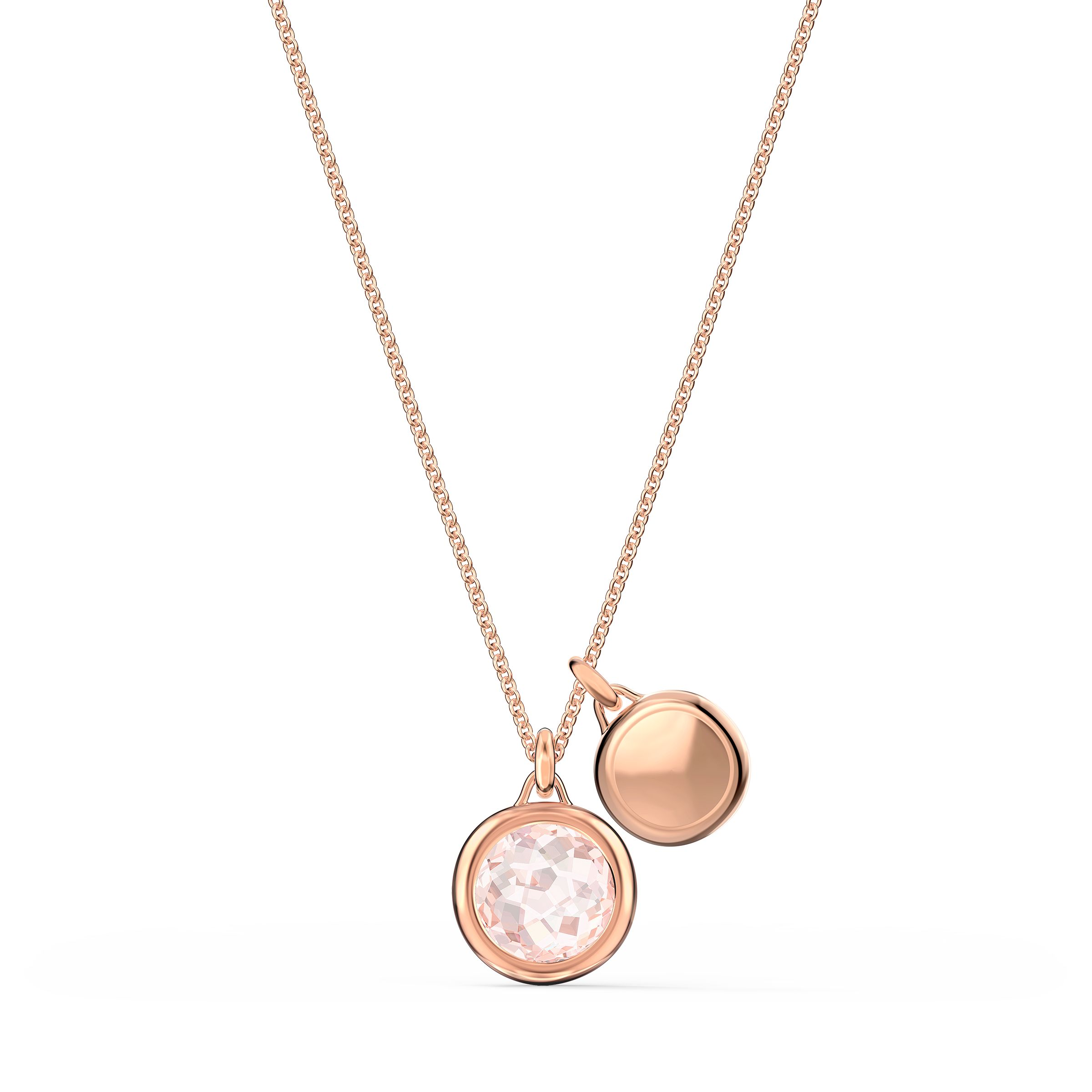 Pendentif Tahlia Double, rose, métal doré rose, Swarovski