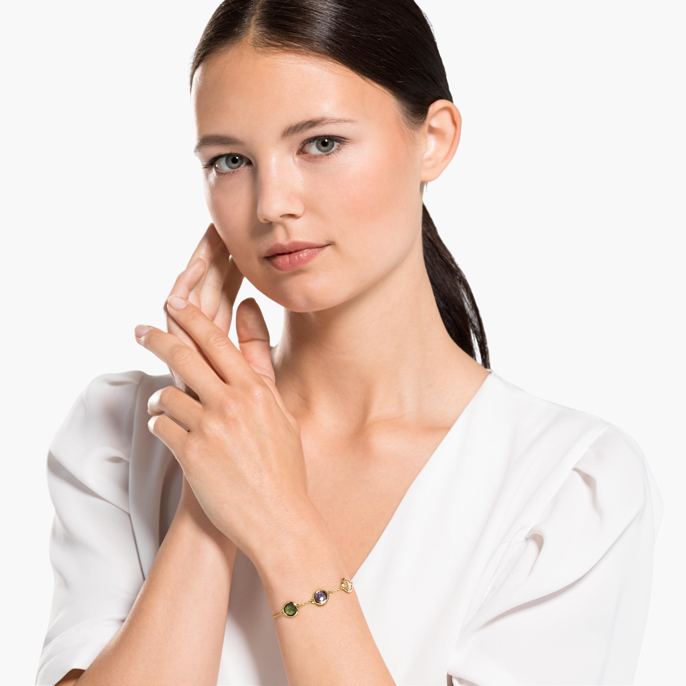 Bracelet Tahlia, métal doré, Swarovski