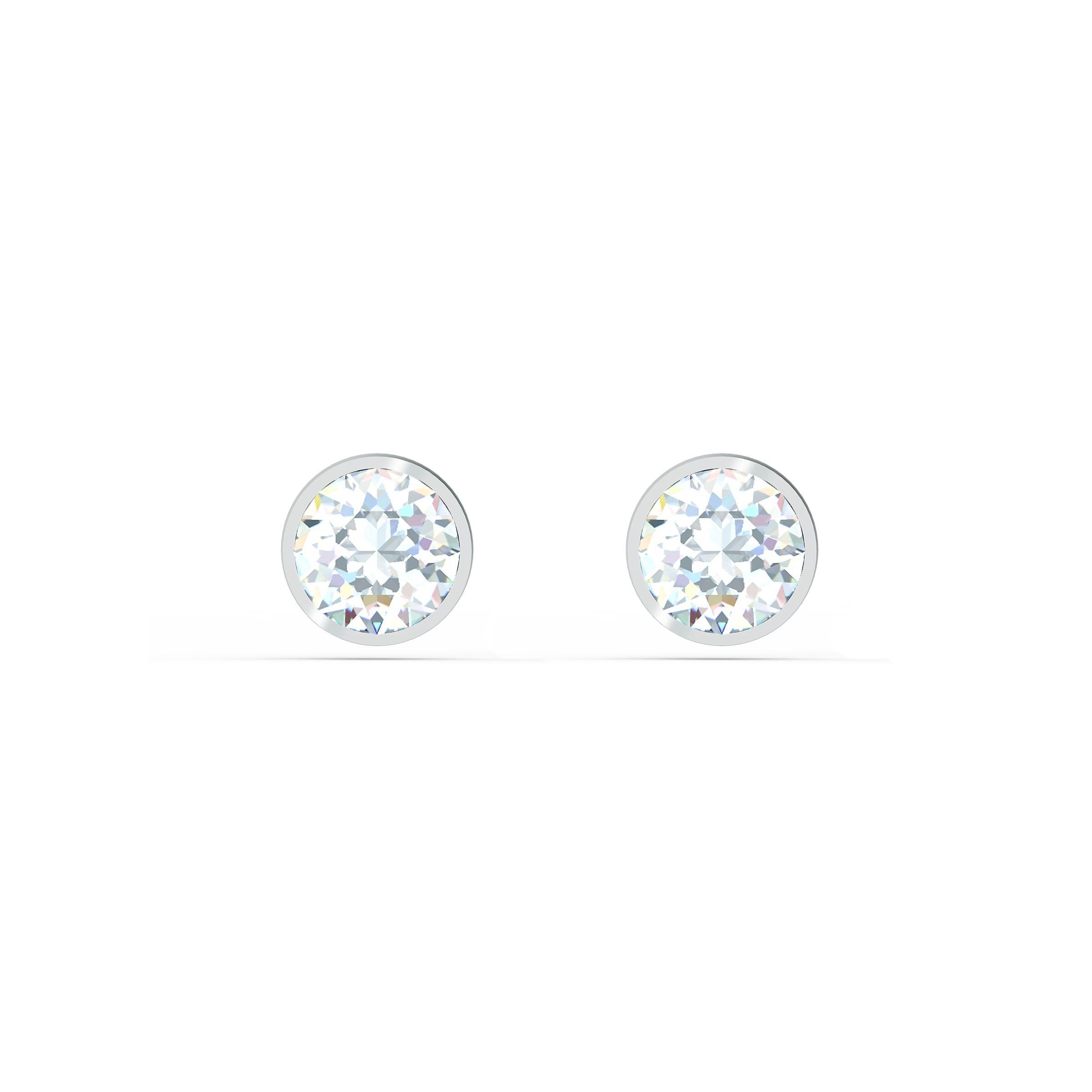 Boucles d'oreilles clous Tennis, blanc, métal rhodié, Swarovski