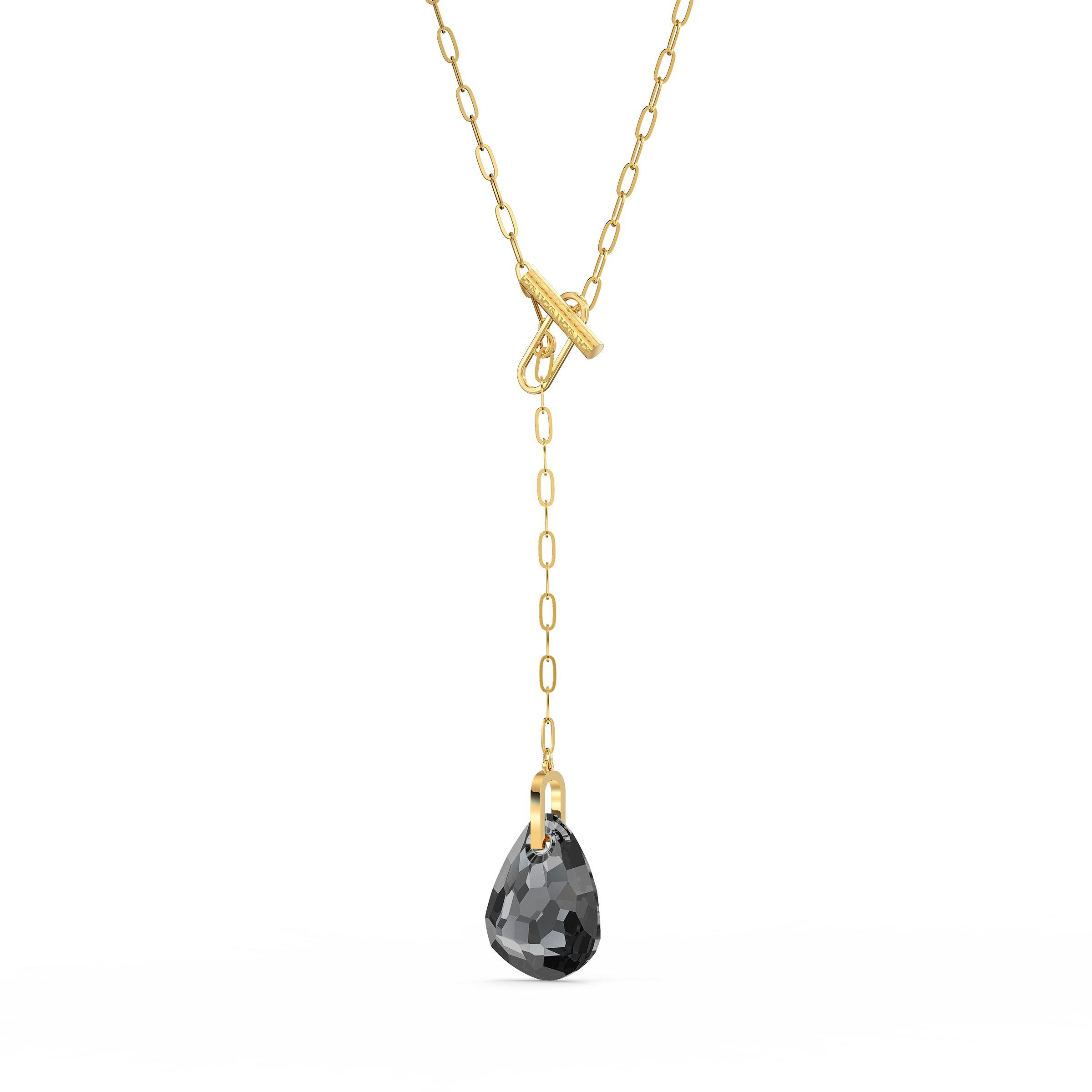 Collier en Y T Bar, gris, métal doré, Swarovski