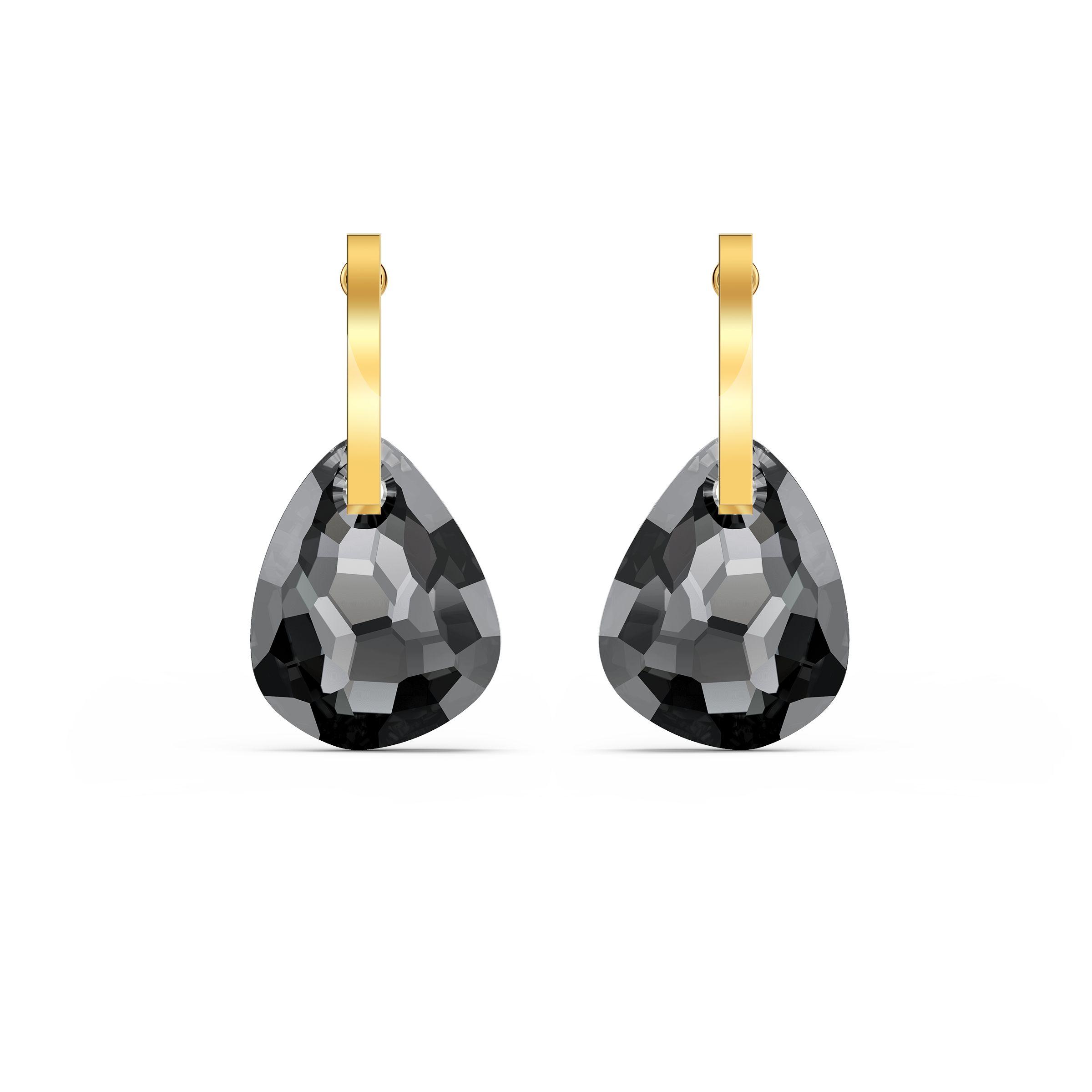Boucles d'oreilles T Bar, gris, métal doré, Swarovski