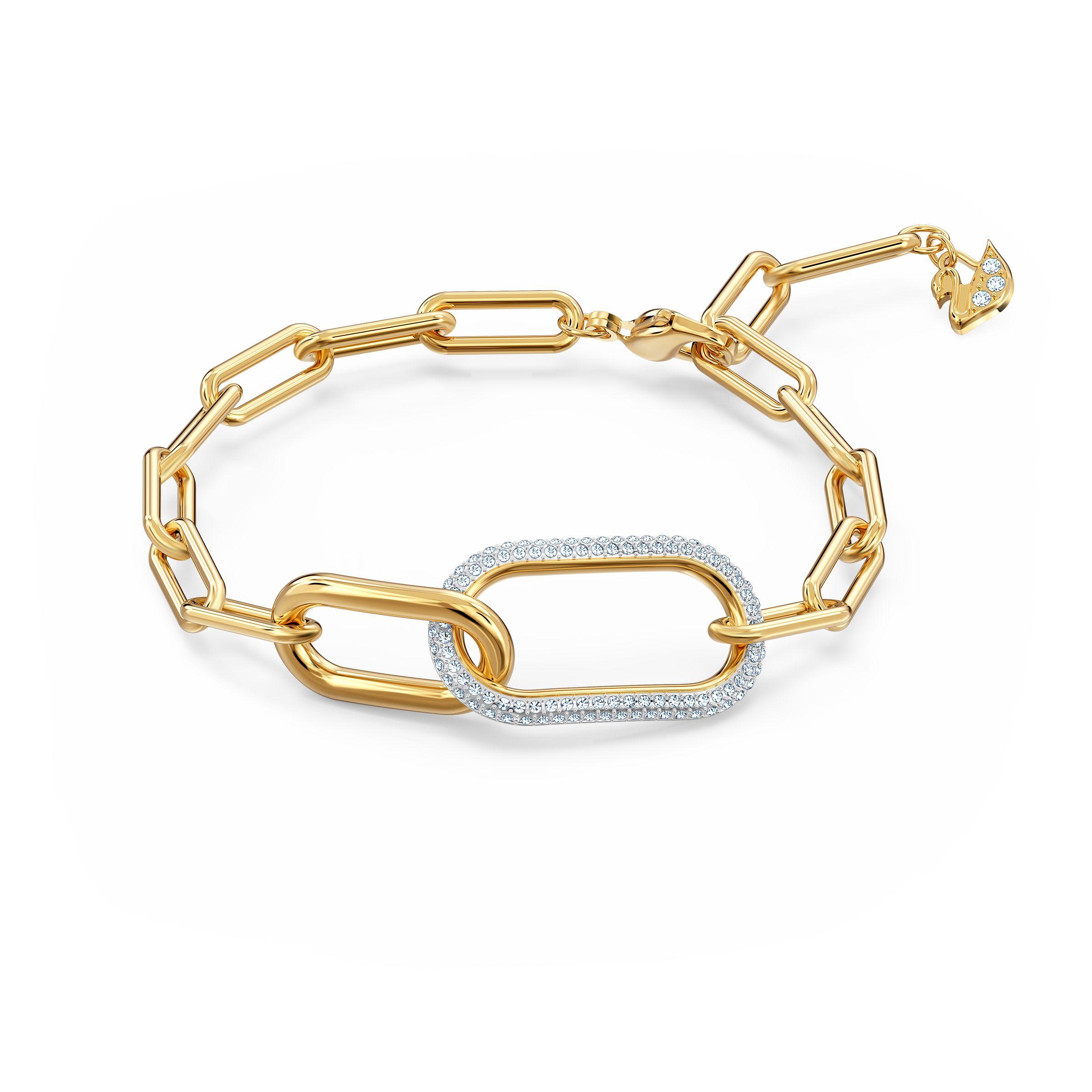 Bracelet Time, blanc, finition mix de métal, Swarovski