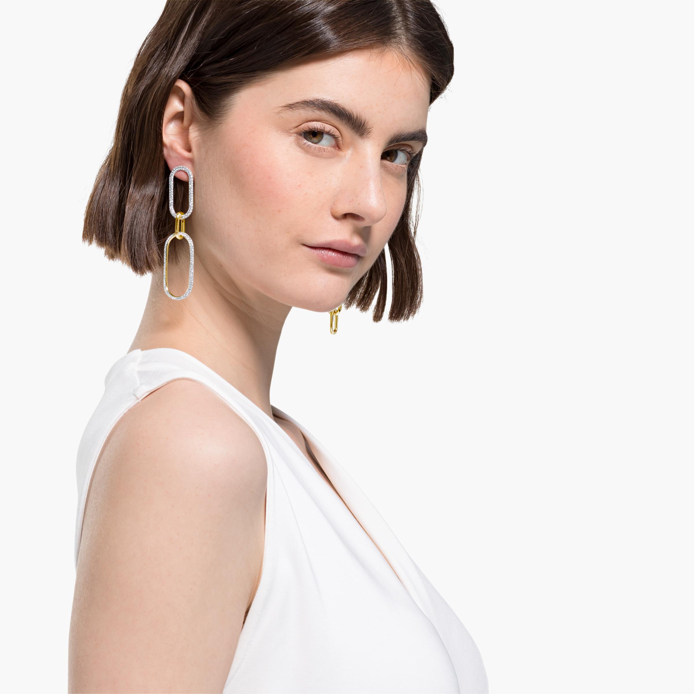 Boucles d'oreilles Time, blanc, finition mix de métal, Swarovski