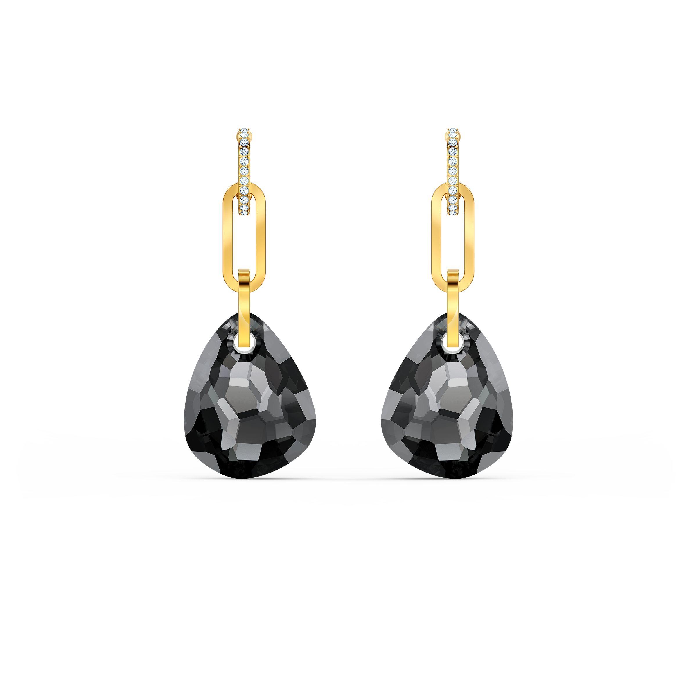 Boucles d'oreilles T Bar, medium, gris, métal doré, Swarovski