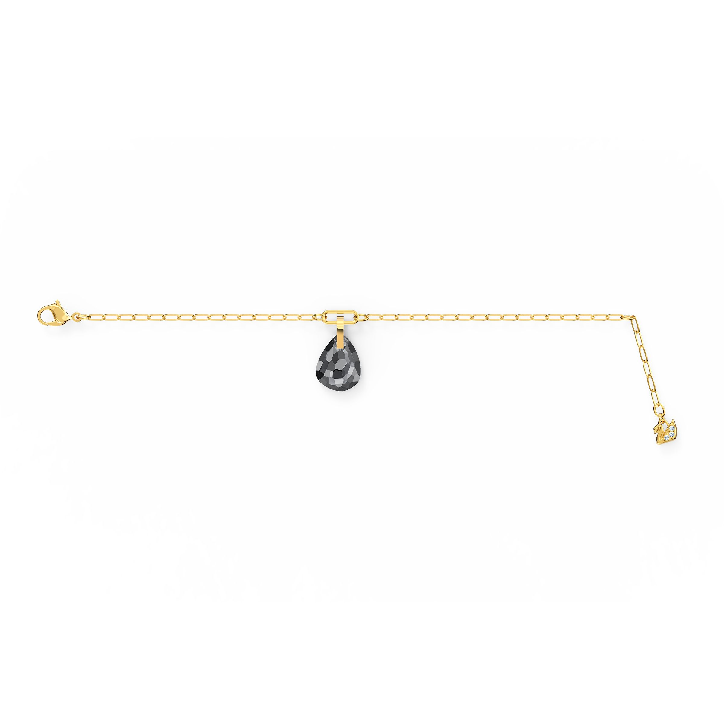 Bracelet T Bar, gris, métal doré, Swarovski