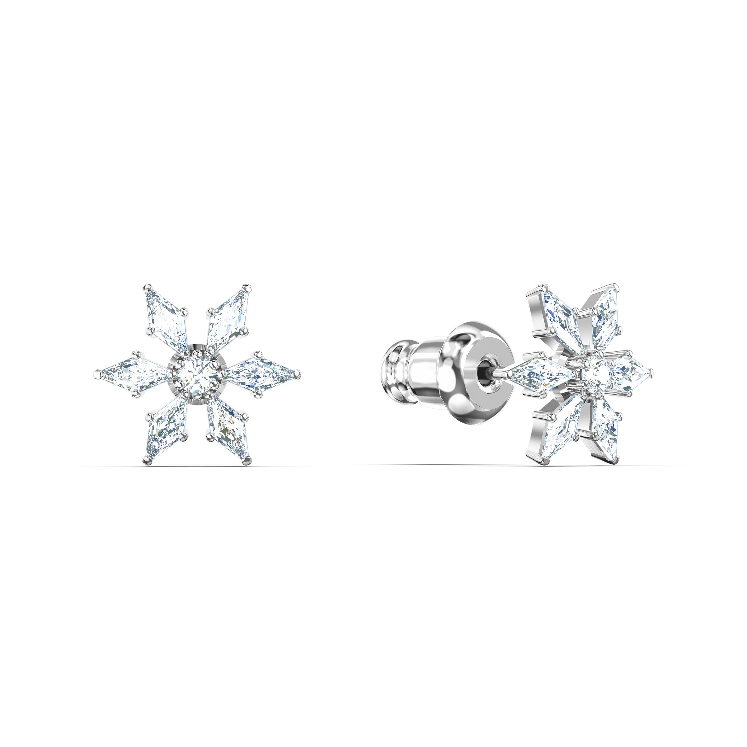 Boucles d'oreilles Magic Chain, blanc, métal rhodié, Swarovski