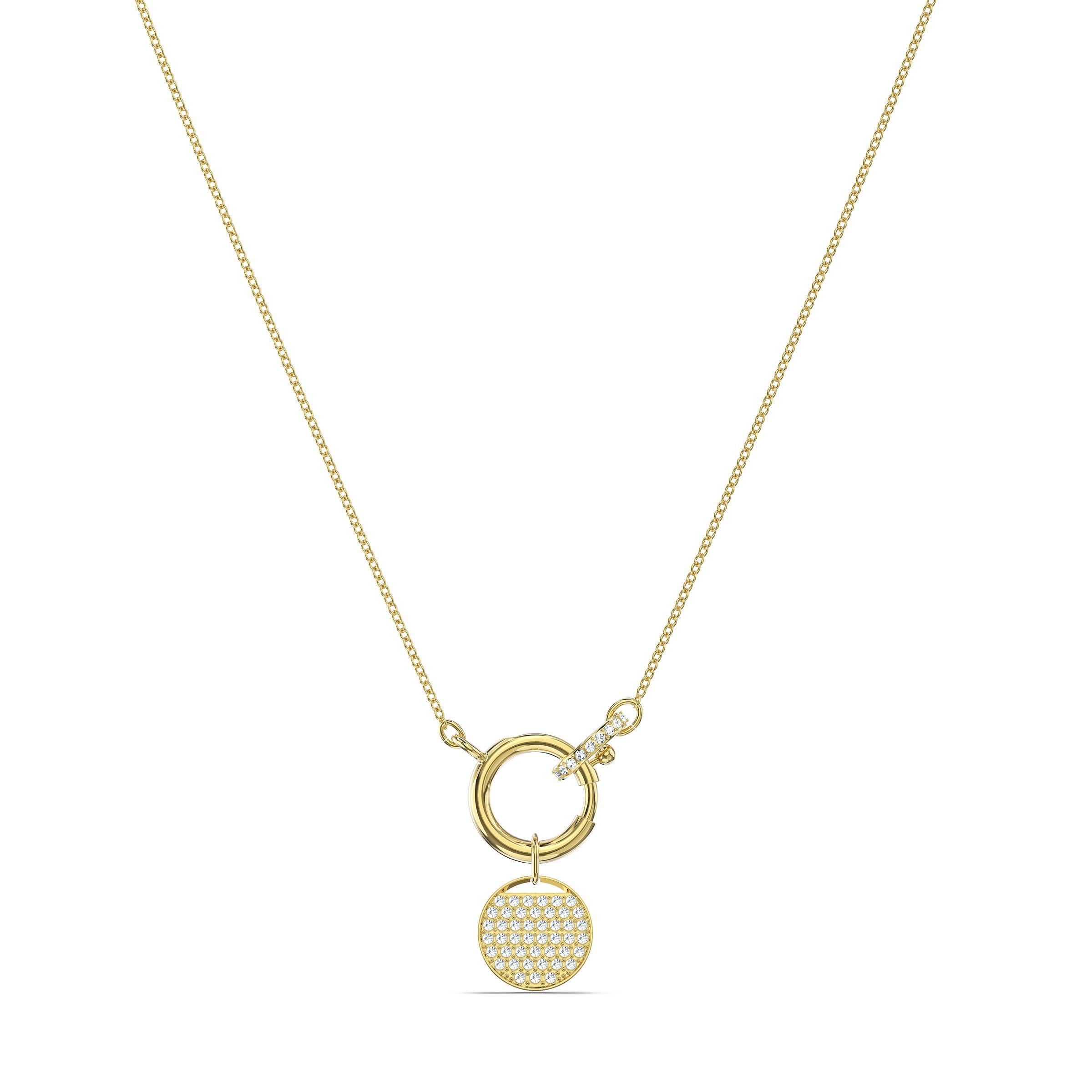 Collier Ginger Charm, blanc, métal doré, Swarovski