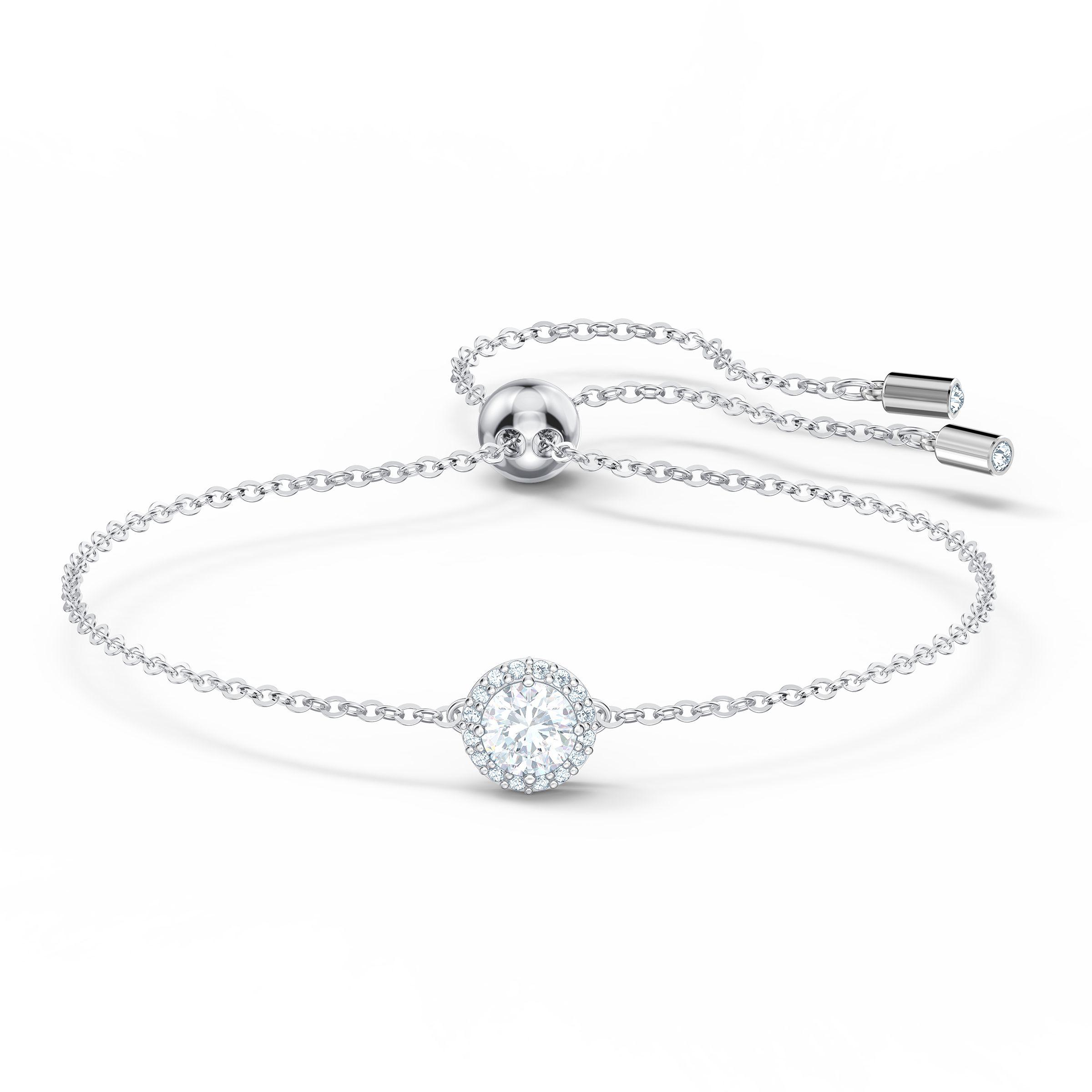 Bracelet Angelic Round, blanc, métal rhodié, Swarovski