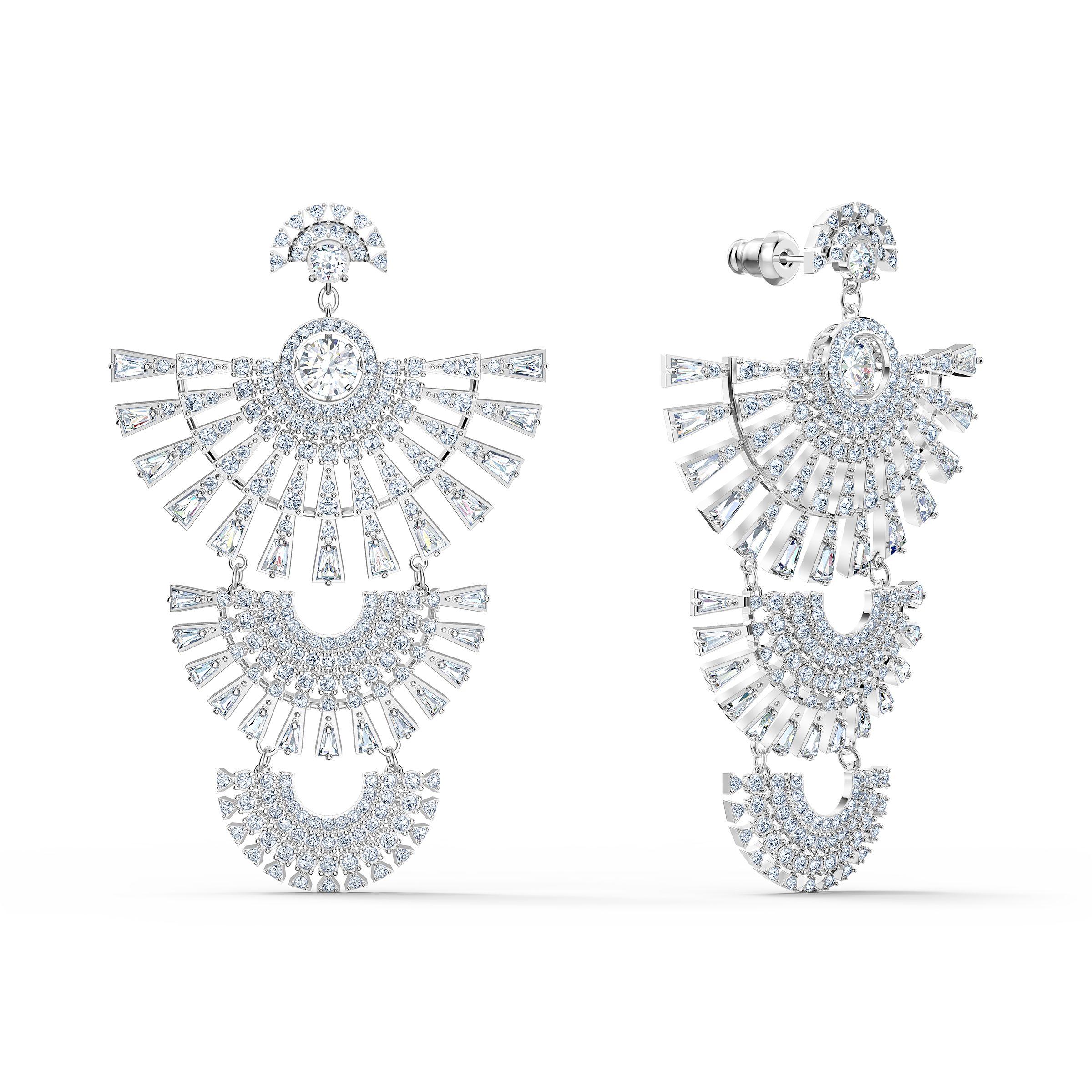 Boucles d'oreilles Swarovski Sparkling Dance Dial Up, blanc, métal rhodié, Swarovski