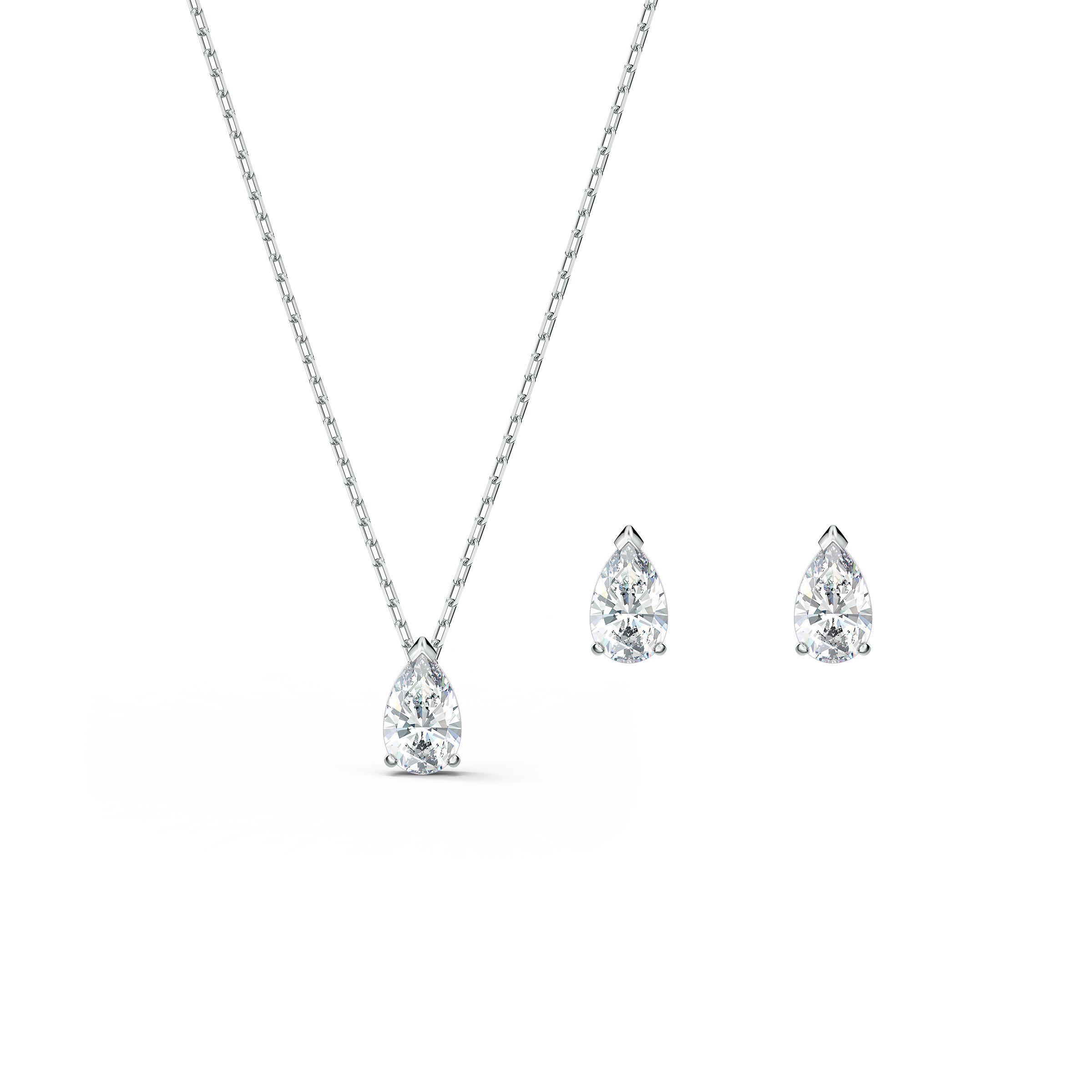 Parure Attract Pear, blanc, métal rhodié, Swarovski