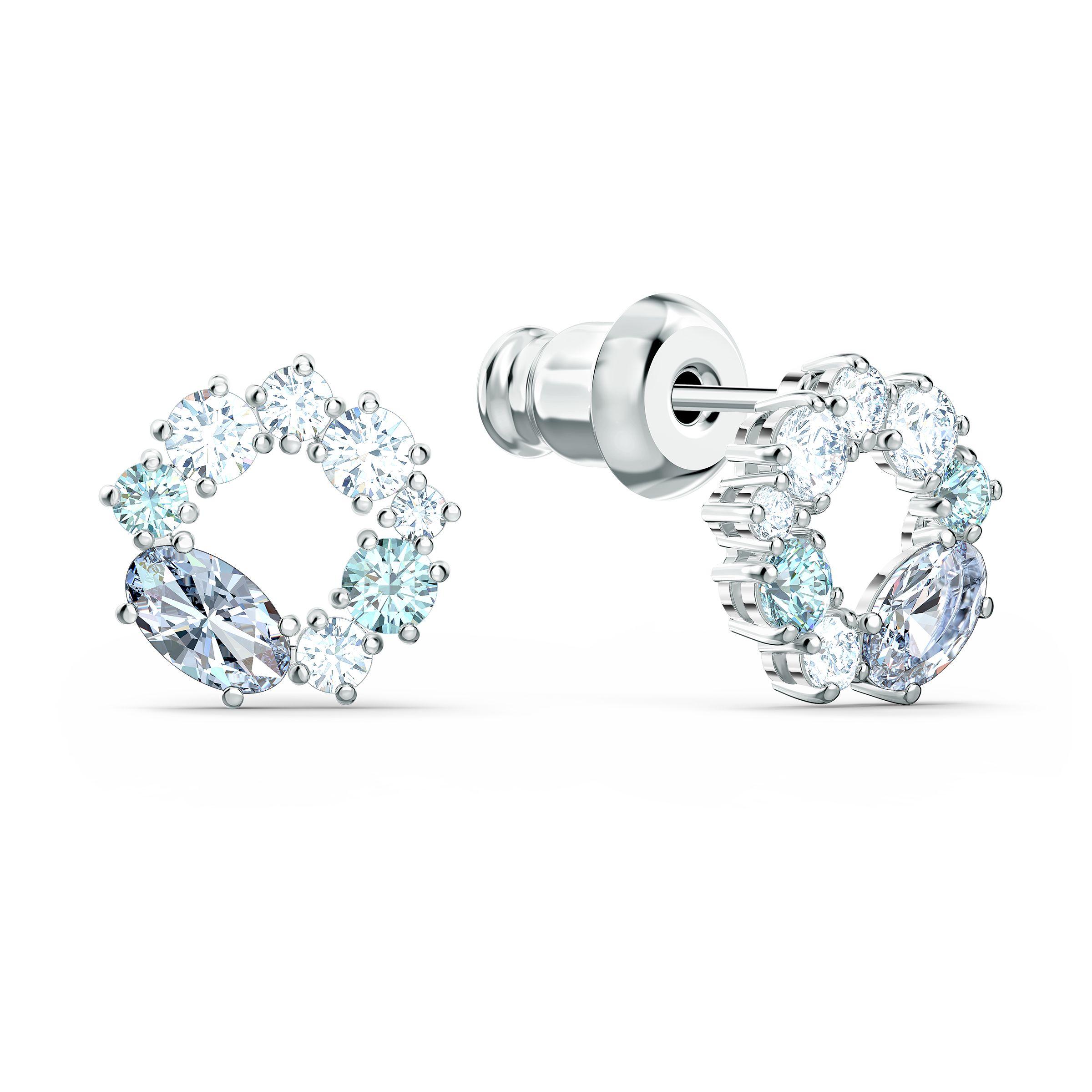 Boucles d'oreilles clous Attract Circle, métal rhodié, Swarovski