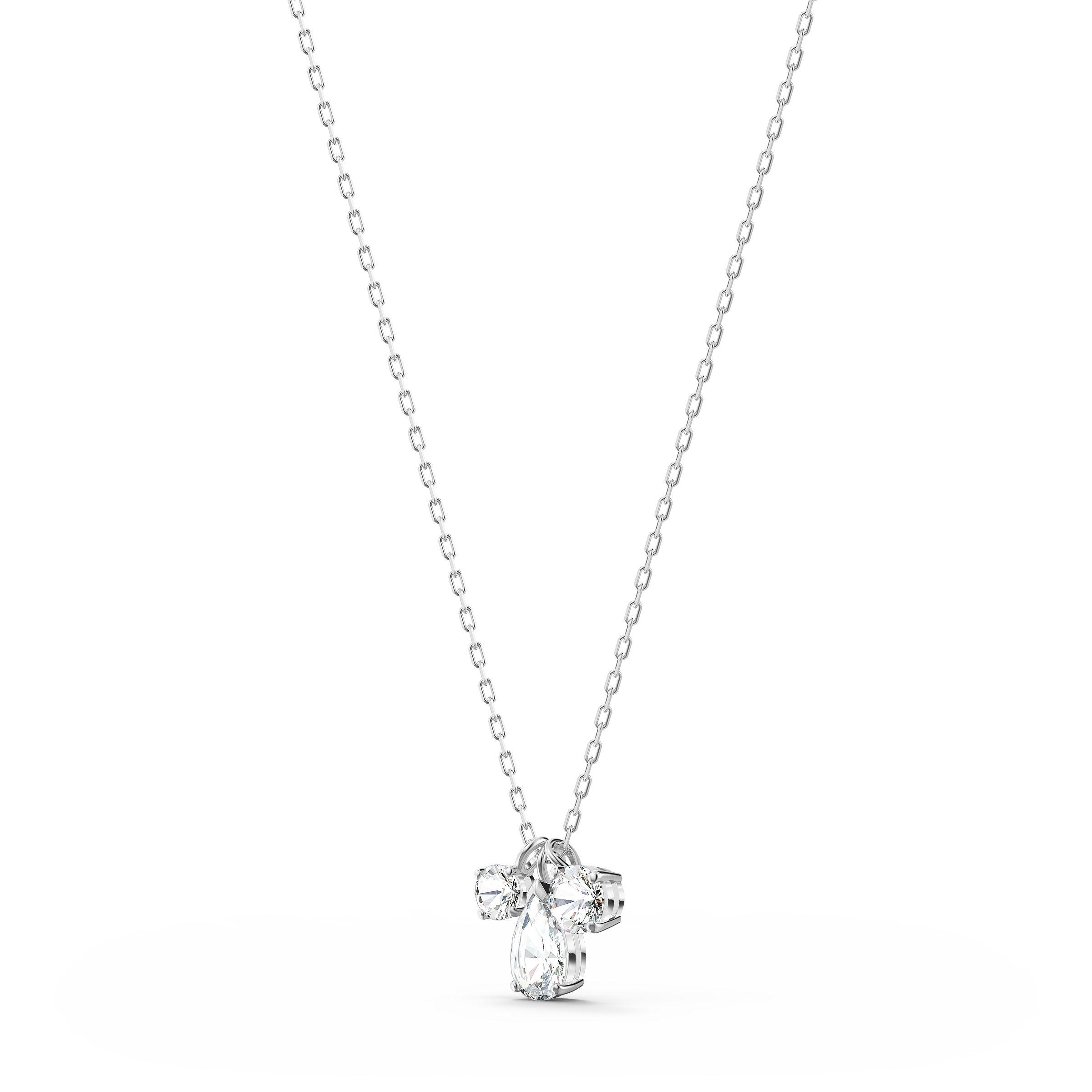 Pendentif Attract Cluster, blanc, métal rhodié, Swarovski